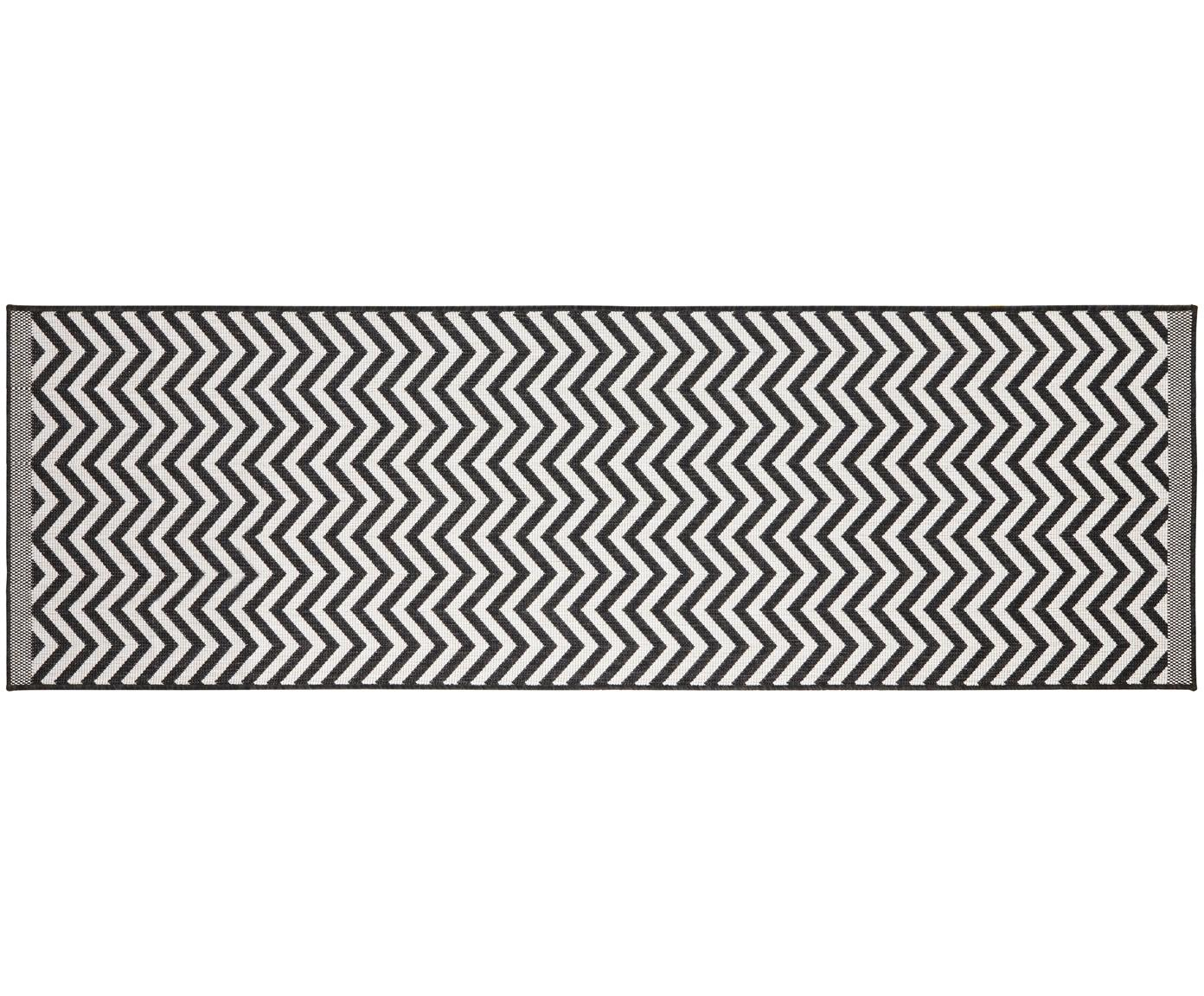 Dubbelzijdige in- & outdoor loper Palma, met zigzag patroon, Zwart, crèmekleurig, 80 x 250 cm
