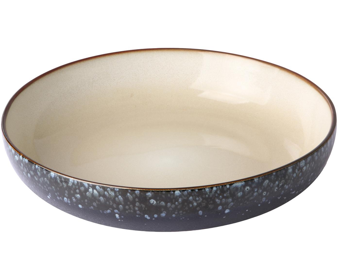 Handgemachte Schale 70's, Keramik, Schwarz, Beige, Blautöne, Ø 27 x H 6 cm