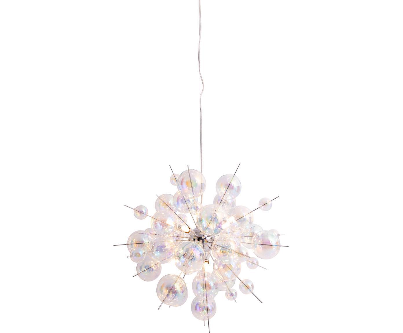Lampada a sospensione con sfere di vetro Explosion, Baldacchino: metallo cromato, Cromo, trasparente, iridescente, Ø 65 x Alt. 150 cm