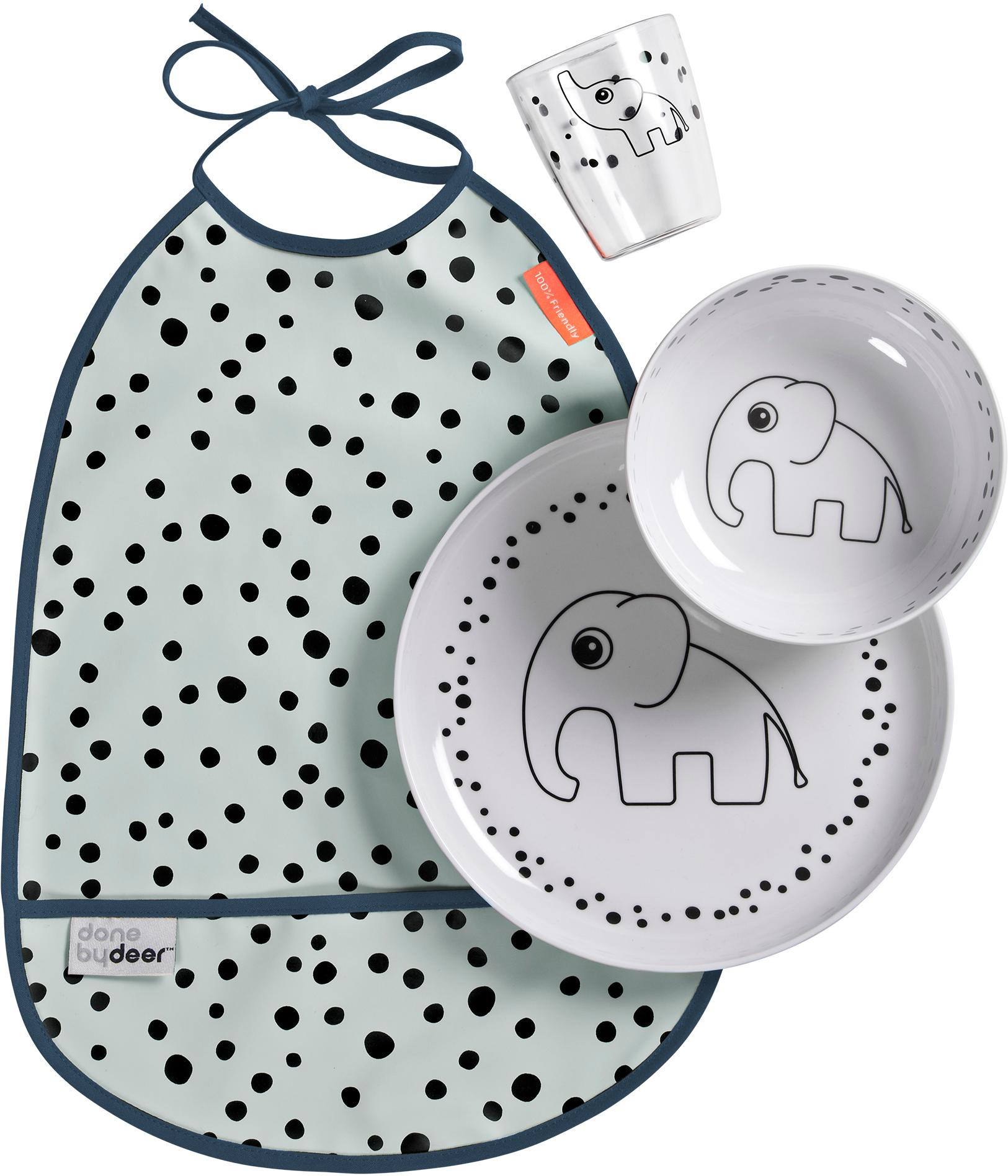 Geschirr-Set Happy Dots, 4-tlg., Blau, Set mit verschiedenen Größen