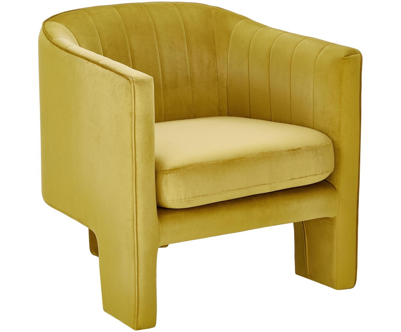 Fotel z aksamitu Emilie, Tapicerka: aksamit (poliester) 2600, Aksamitny ochrowy, S 75 x G 76 cm