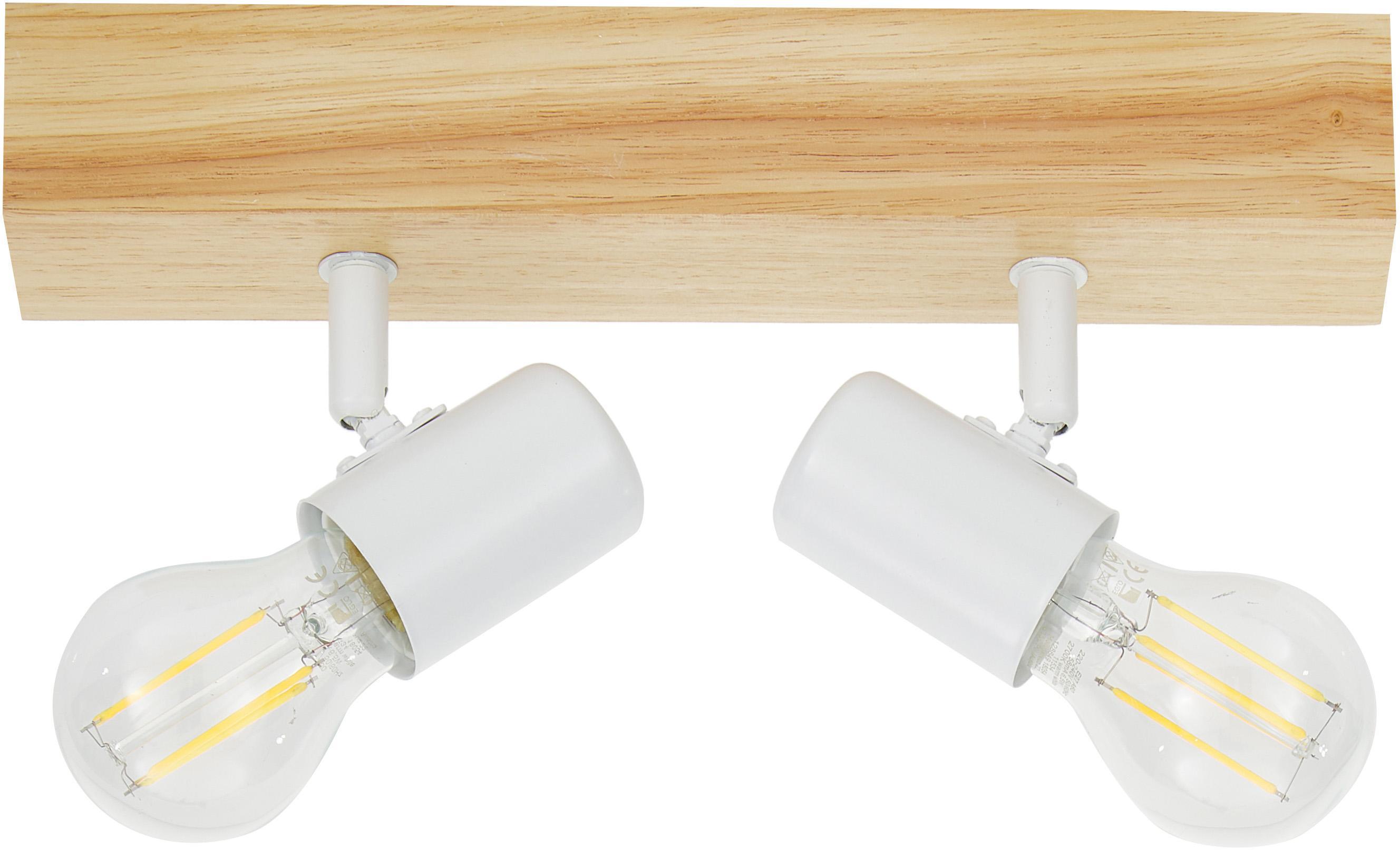 Faretti da soffitto Townshend, Acciaio rivestito, legno, Bianco, legno, Larg. 30 x Alt. 13 cm
