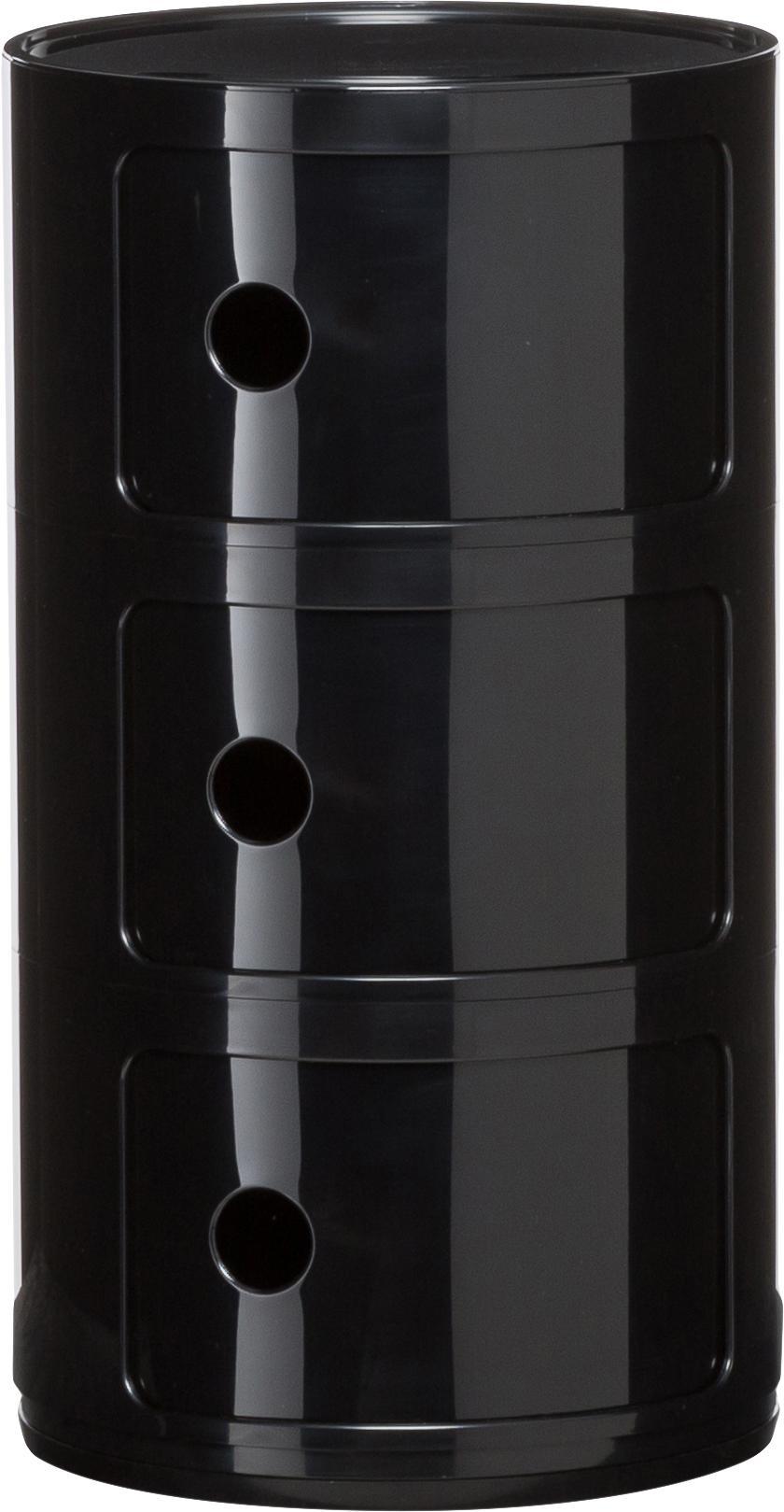Bijzettafel Componibile, Kunststof, Glanzend zwart, Ø 32 x H 59 cm