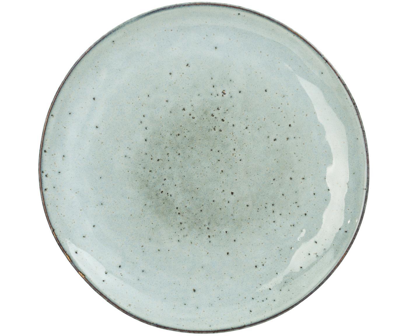 Talerz śniadaniowy Rustic, 4 szt., Porcelana, Jasnoszary, zielony, Ø 20 cm