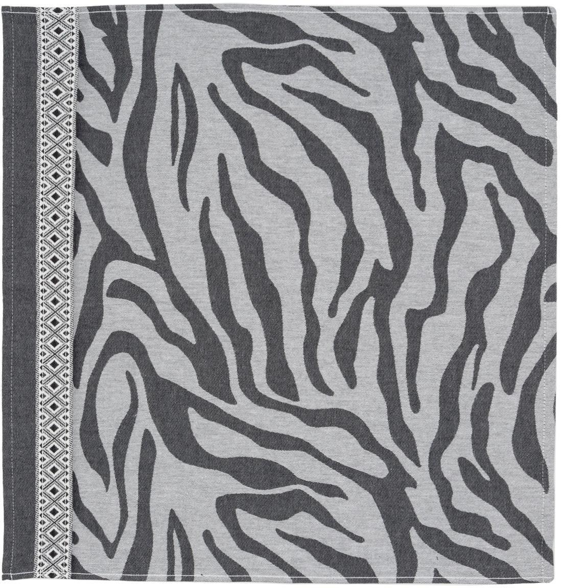 Canovaccio con motivo a zebra Africa, 6 pz., Cotone, Nero, bianco, Larg. 60 x Lung. 65 cm