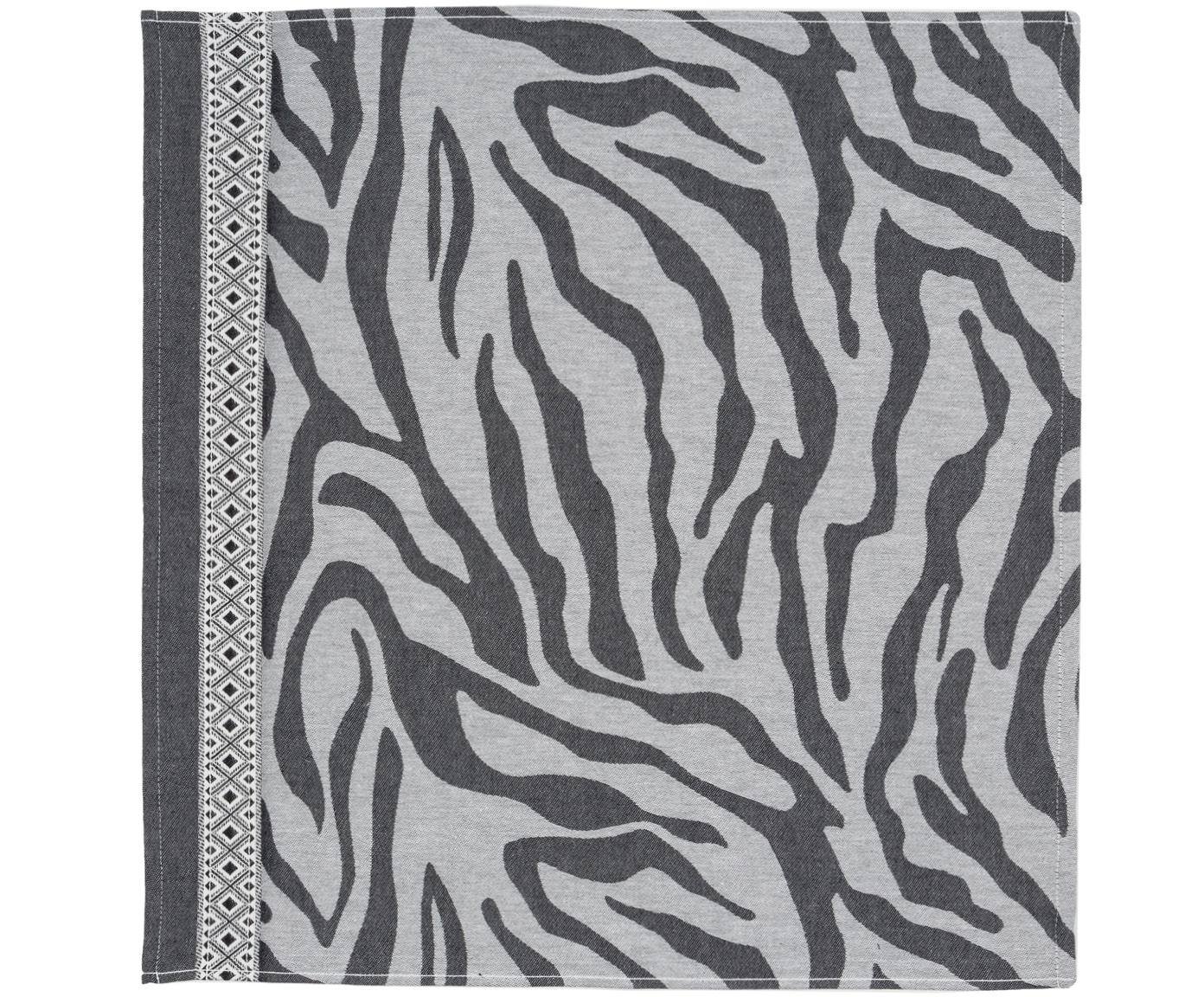 Theedoeken Africa met zebrapatroon, 6 stuks, Katoen, Zwart, wit, 60 x 65 cm