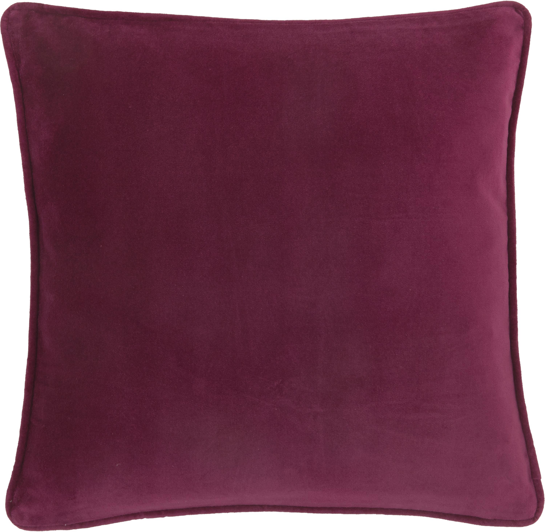 Poszewka na poduszkę z aksamitu Dana, Aksamit bawełniany, Wiśniowy, S 50 x D 50 cm