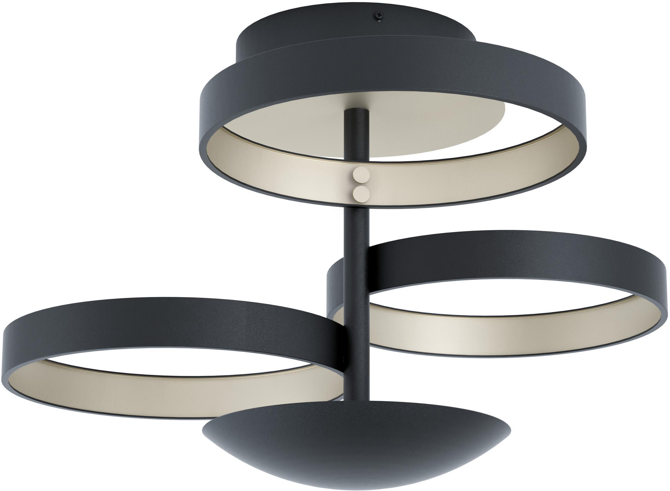 Dimbare LED plafondlamp Gromola, Lampenkap: gelakt aluminium, Baldakijn: gelakt aluminium, Zwart, Ø 54 cm