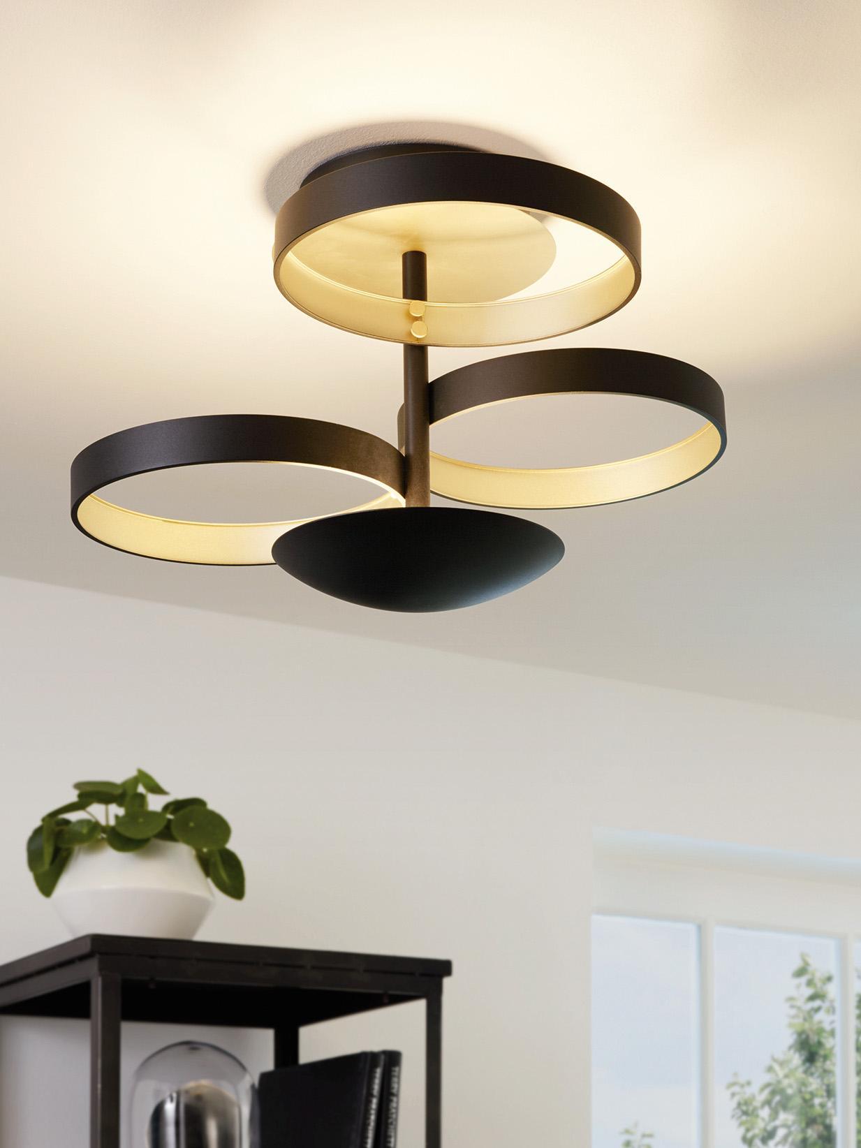 Plafonnier avec variateur d'intensité LED Gromola, Noir