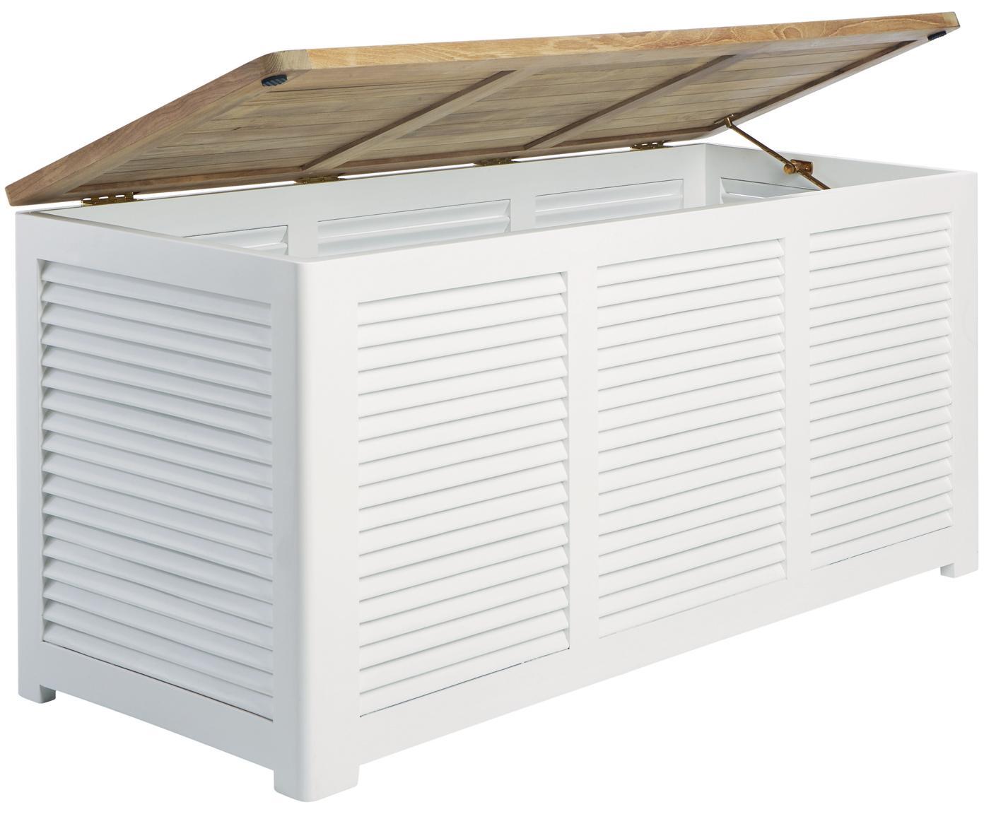 Baúl de jadín de madera Storage, Estructura: madera de caoba, pintada, Teca, blanco, An 130 x Al 60 cm