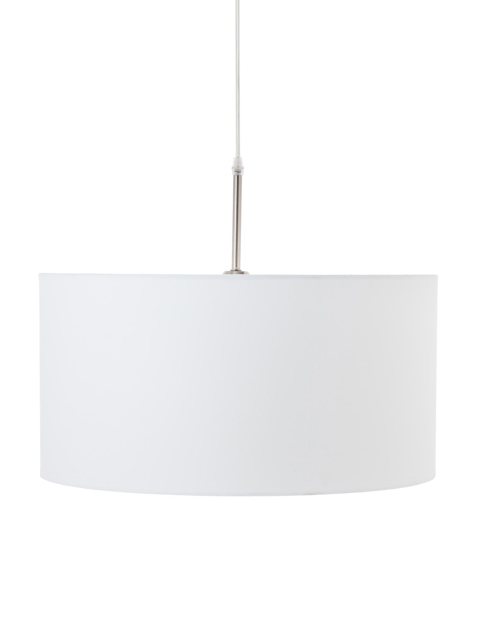 Lampada a sospensione in cotone Blank, Paralume: miscela di cotone, Baldacchino: metallo nichelato, Bianco, Ø 50 x Alt. 25 cm