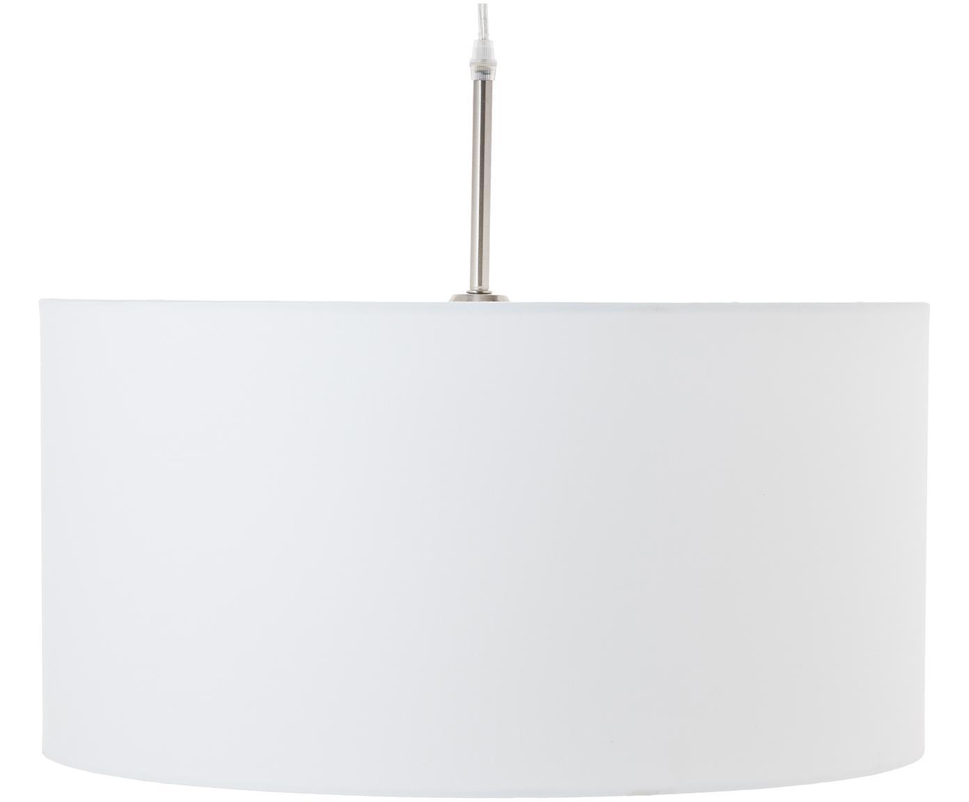 Pendelleuchte Blank aus Baumwolle, Lampenschirm: Baumwollgemisch, Baldachin: Metall, vernickelt, Weiss, ∅ 50 x H 25 cm