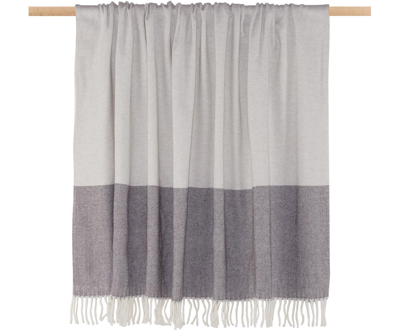 Plaid a righe Stripes, 50% cotone, 50% poliacrilico, Grigio, Larg. 150 x Lung. 200 cm