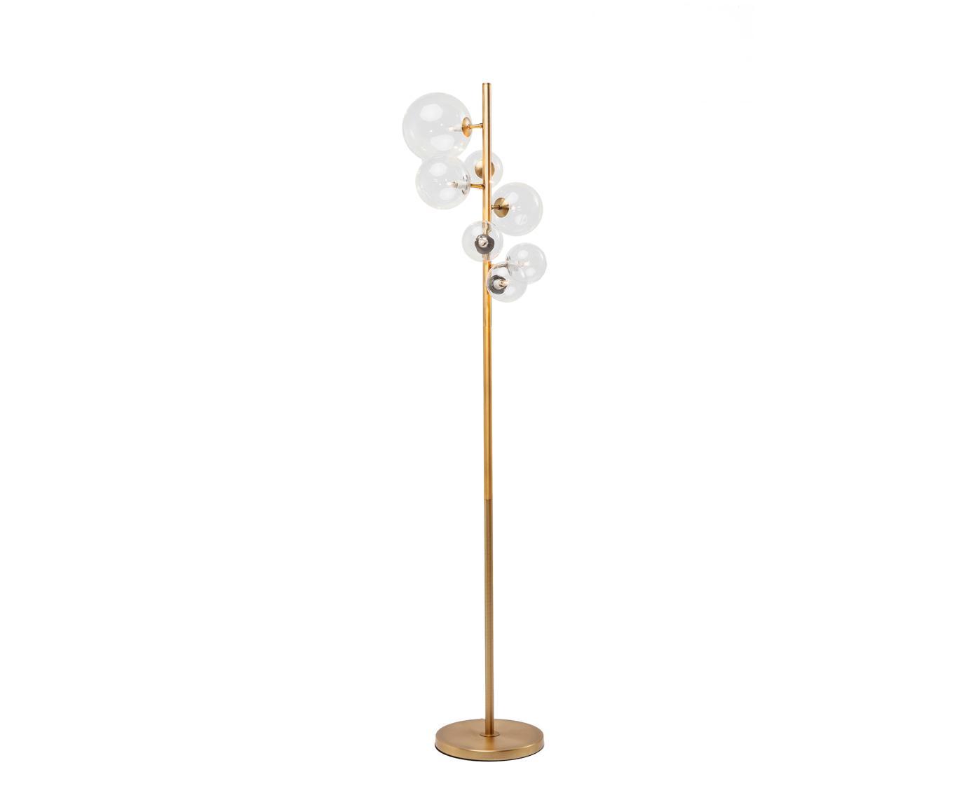 Lampada da terra Bello Sette, Paralume: vetro, Base della lampada: acciaio ottonato, Paralume: trasparente Attacchi: bianco Base della lampada: ottone, Larg. 42 x Alt. 162 cm