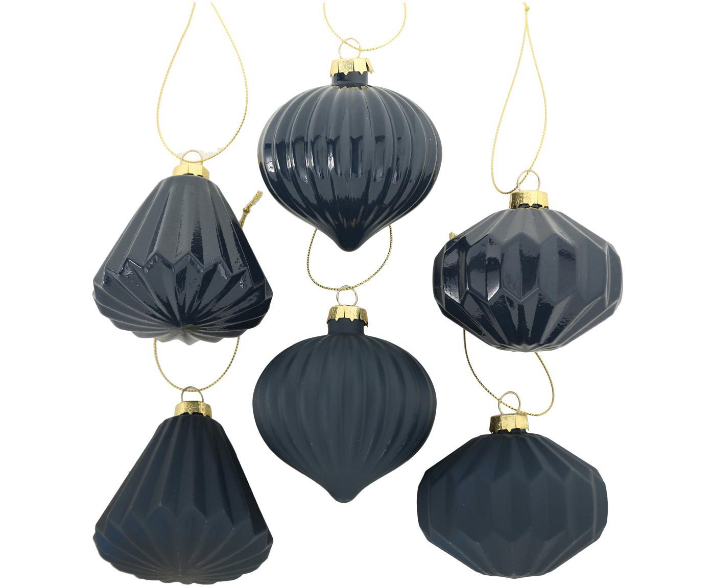 Komplet ozdób choinkowych Origami, 6elem., Ciemny niebieski, Ø 8 x W 8 cm