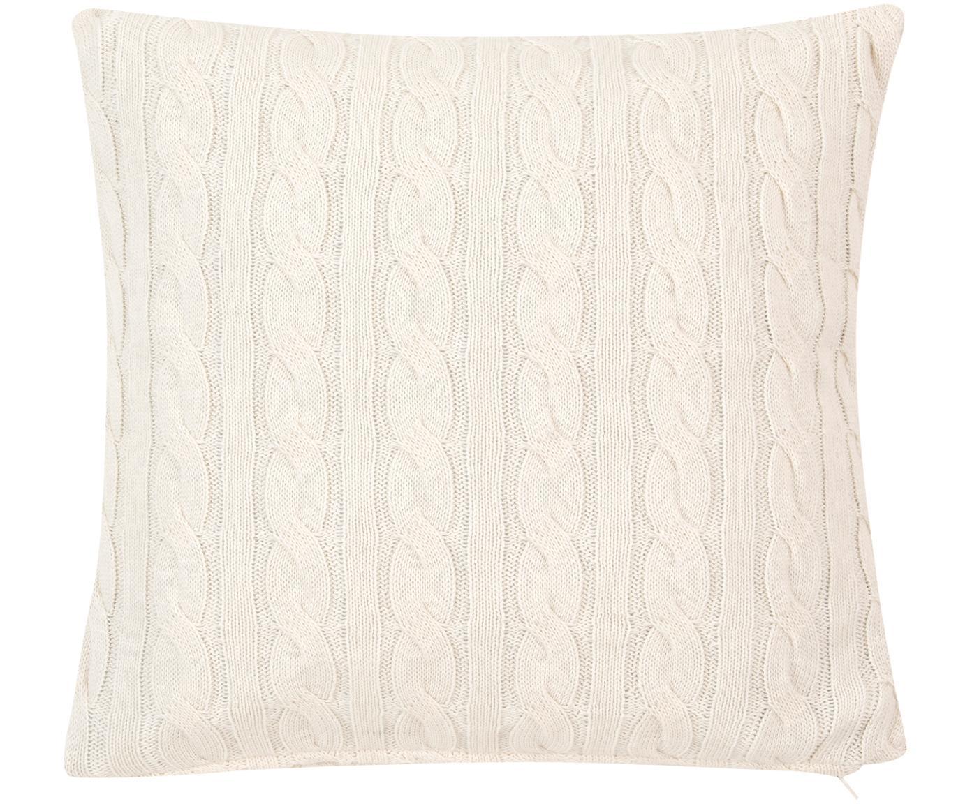 Dzianinowa poszewka na poduszkę Ida, 100% bawełna, Odcienie kremowego, S 40 x D 40 cm