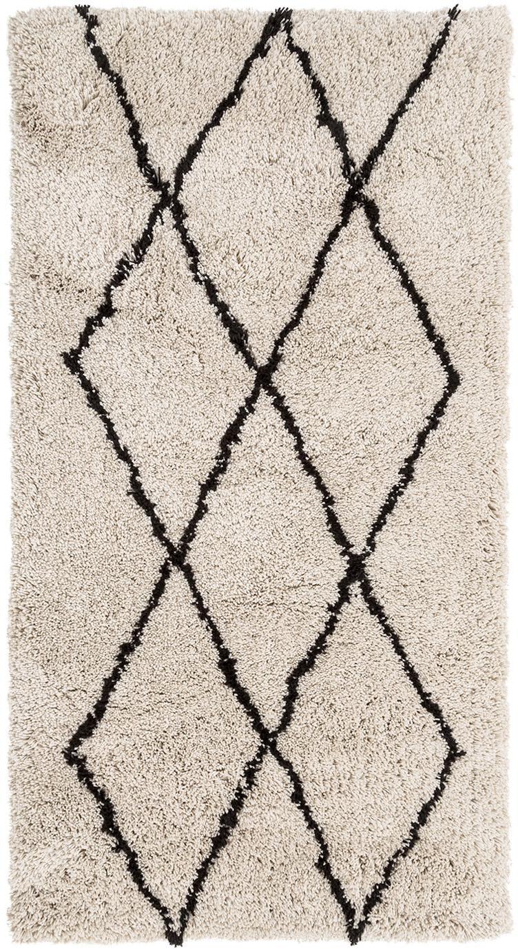 Flauschiger Hochflor-Teppich Nouria, handgetuftet, Flor: 100% Polyester, Beige, Schwarz, B 80 x L 150 cm (Größe XS)