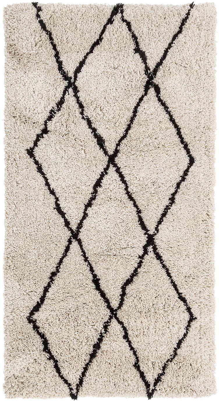 Handgetuft vloerkleed Nouria, Bovenzijde: 100% polyester, Onderzijde: 100% katoen, Beige, zwart, 80 x 150 cm