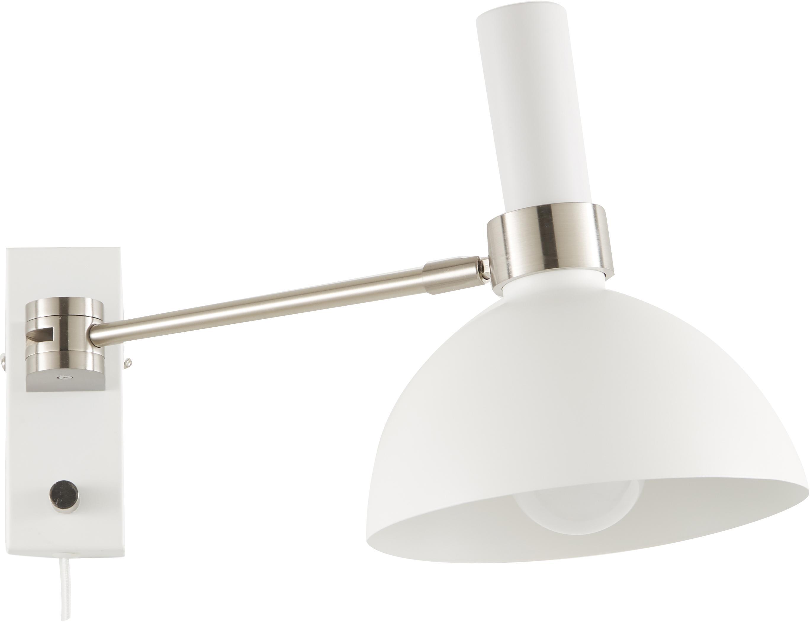 Dimbare wandlamp Larry, Wit, chroomkleurig, 19 x 24 cm
