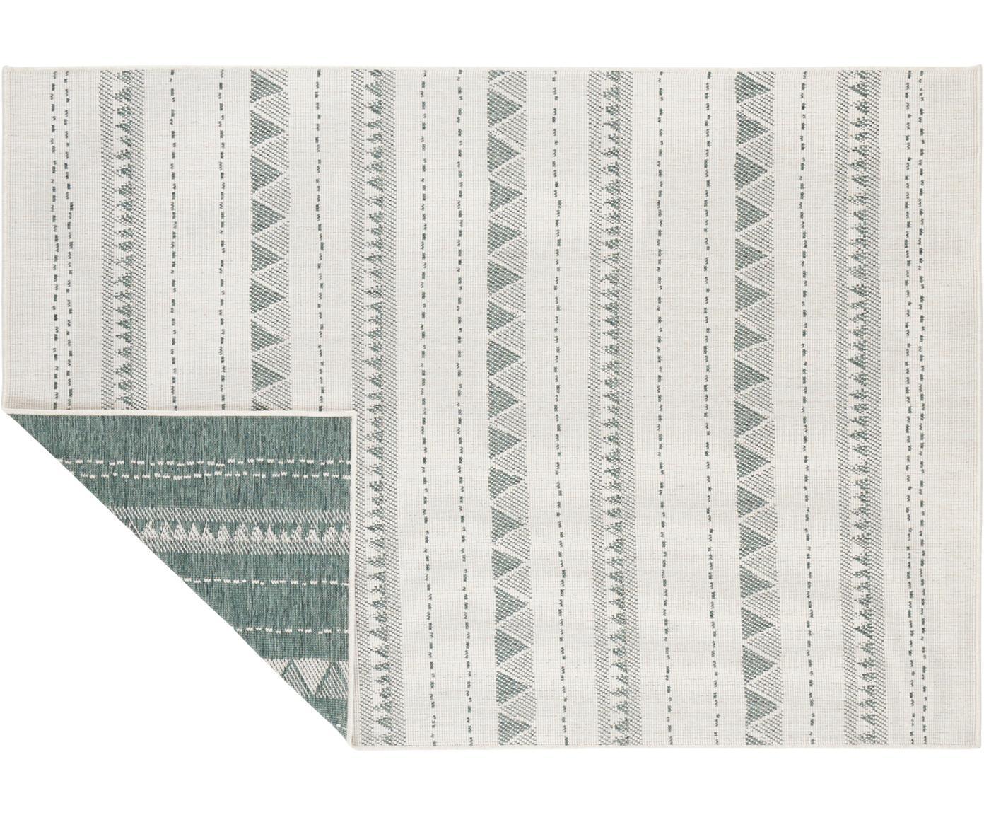 Dubbelzijdig in- & outdoor vloerkleed Bahamas, Polypropyleen, Groen, crèmekleurig, B 120 x L 170 cm (maat S)