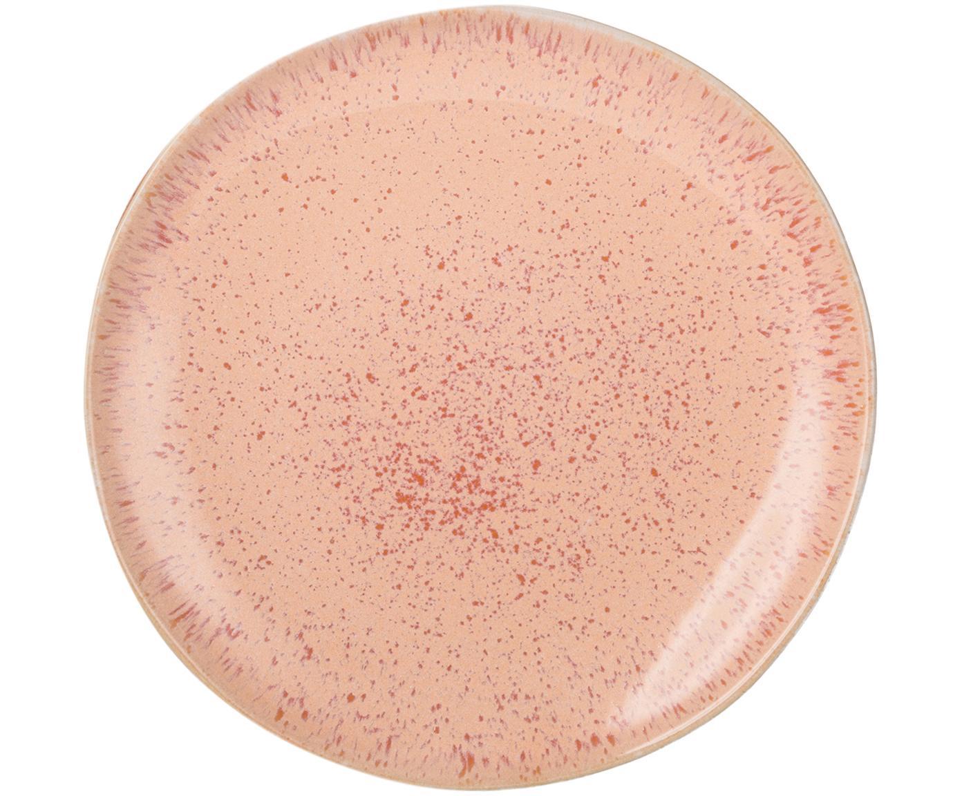 Handgeschilderde ontbijtborden Areia, 2 stuks, Keramiek, Roodtinten, gebroken wit, lichtbeige, Ø 22 cm
