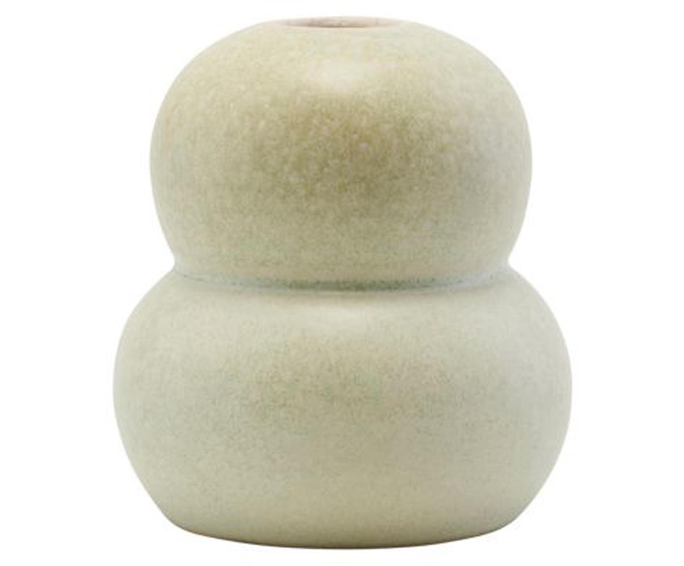 Mały ręcznie wykonany wazon z kamionki Bobbles, Kamionka, Beżowy, jasny zielony, Ø 9 x W 11 cm