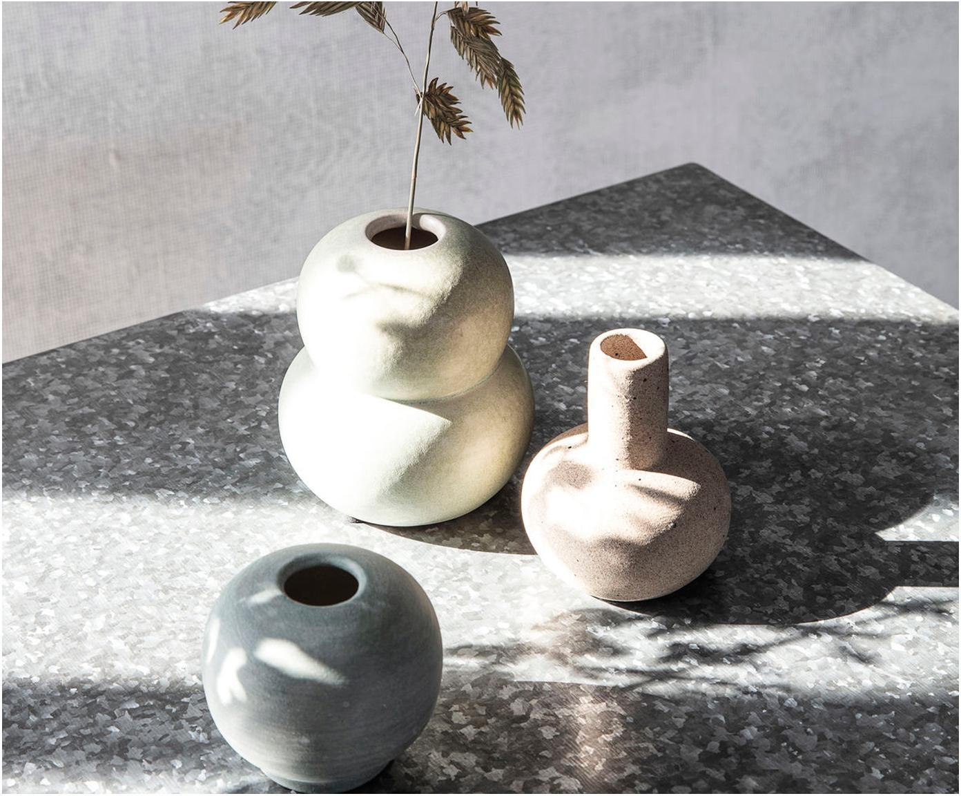 Kleine handgefertigte Vase Bobbles aus Steingut, Steingut, Beige, Hellgrün, Ø 9 x H 11 cm