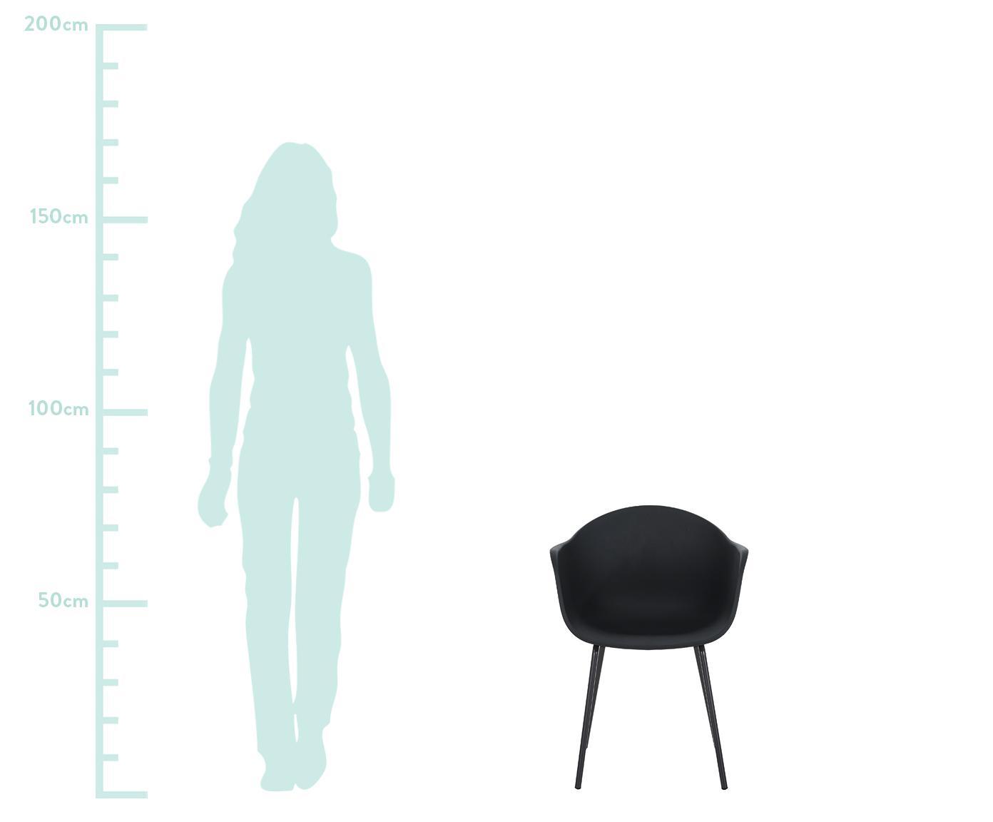 Krzesło z podłokietnikami z tworzywa sztucznego Claire, Nogi: metal malowany proszkowo, Czarny, S 54 x G 60 cm