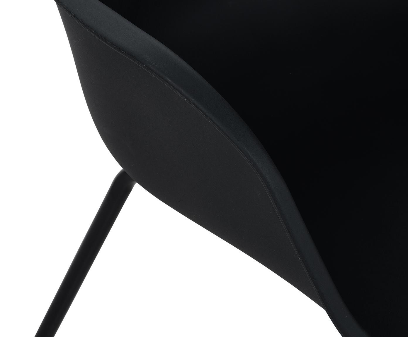 Sedia con braccioli e gambe in metallo Claire, Seduta: materiale sintetico, Gambe: metallo verniciato a polv, Materiale sintetico nero, Larg. 54 x Prof. 60 cm