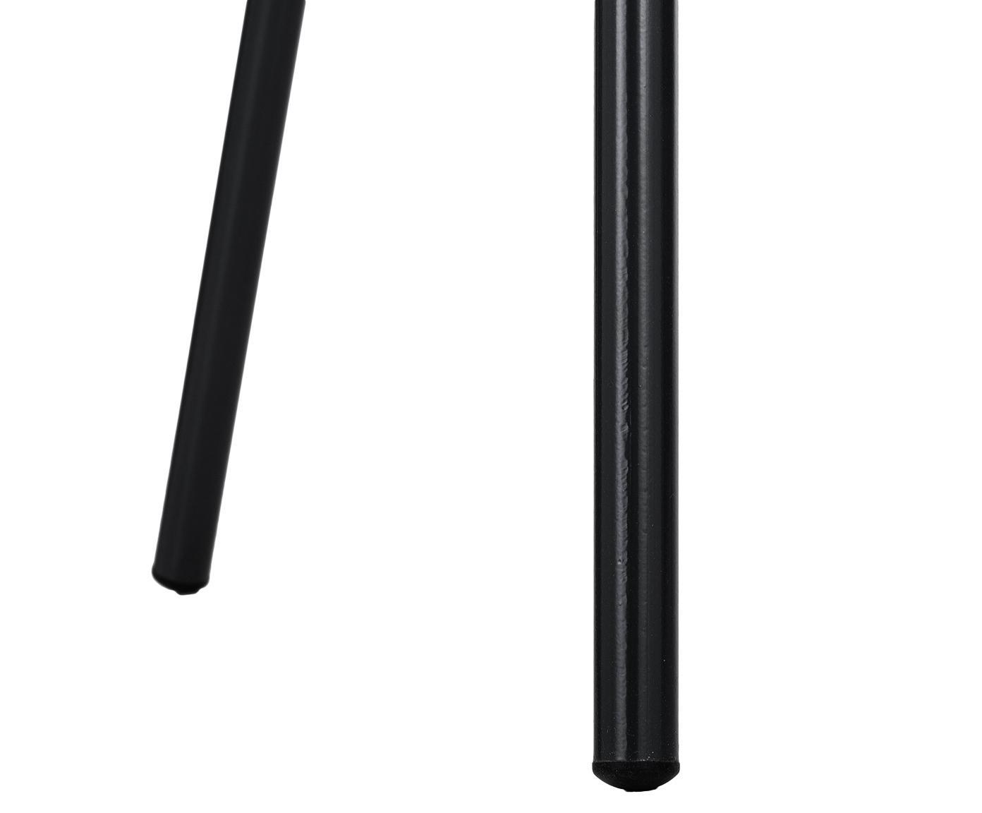 Kunststoffen armstoel Claire met metalen poten, Zitvlak: kunststof, Poten: gepoedercoat metaal, Kunststof zwart, B 54 x D 60 cm