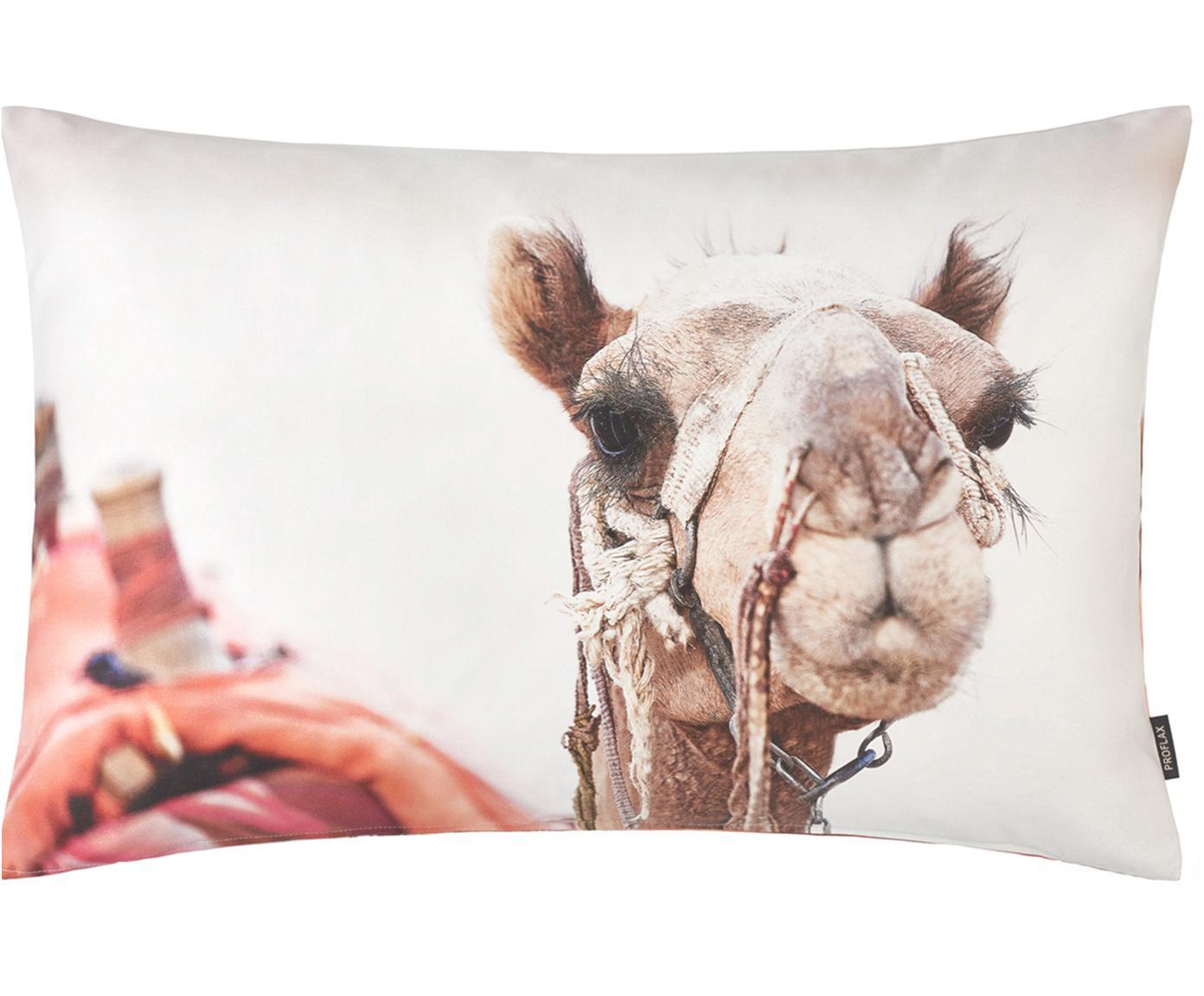 Kussenhoes Sarabi met kamelen motief, Katoen, Beige, multicolour, 40 x 60 cm