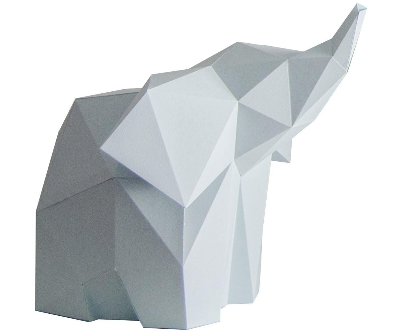 Tafellamp Baby Elephant, bouwpakket van papier, Lampenkap: papier, 160 g/m², Fitting: MDF, kunststof, Lichtblauw, 23 x 24 cm