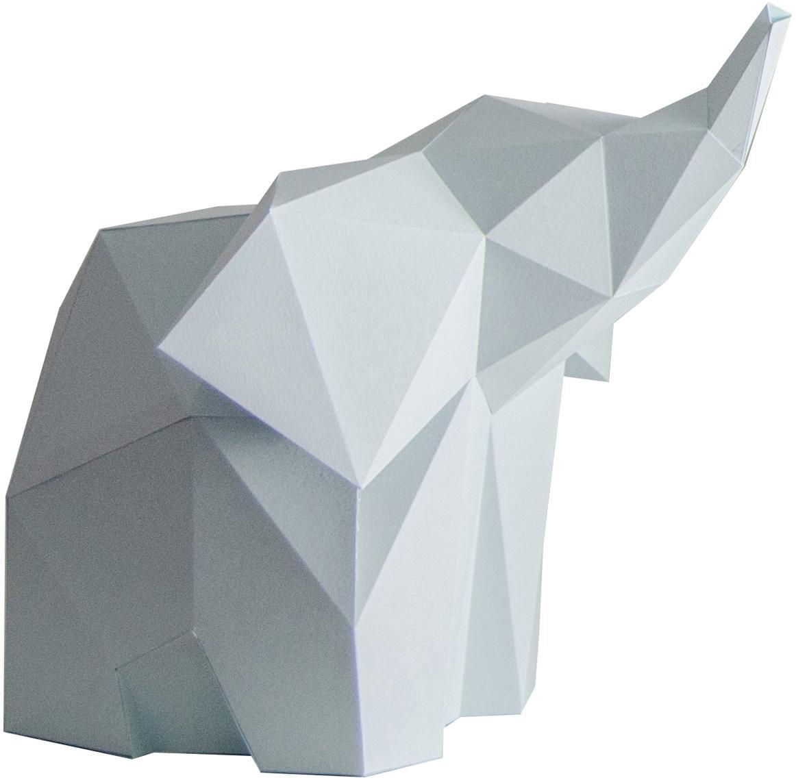 Tischleuchte Baby Elephant, Bausatz aus Papier, Lampenschirm: Papier, 160 g/m², Sockel: Holzfaserplatte und Kunst, Hellblau, 23 x 24 cm