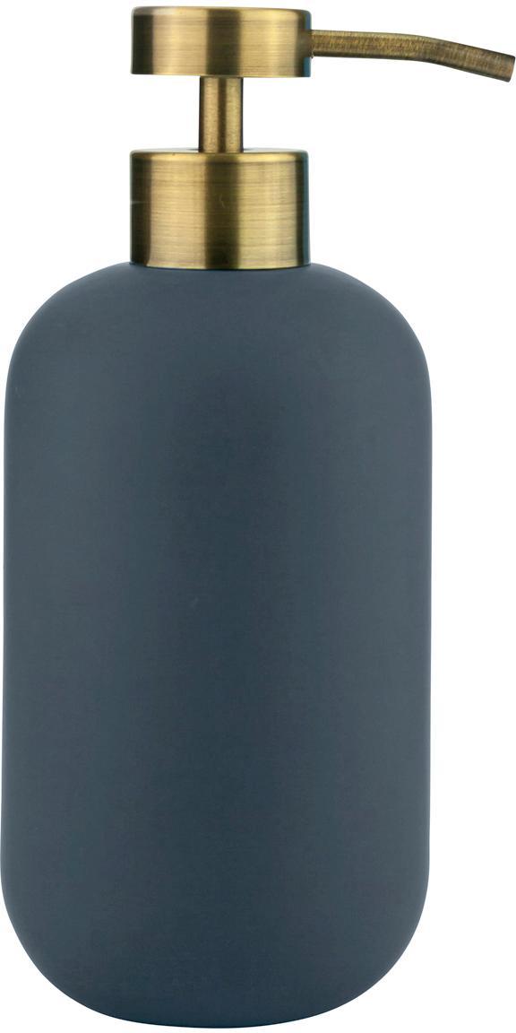 Dosificador de jabón Lotus, Recipiente: cerámica, Dosificador: metal, recubierto, Azul, latón, Ø 8 x Al 18 cm