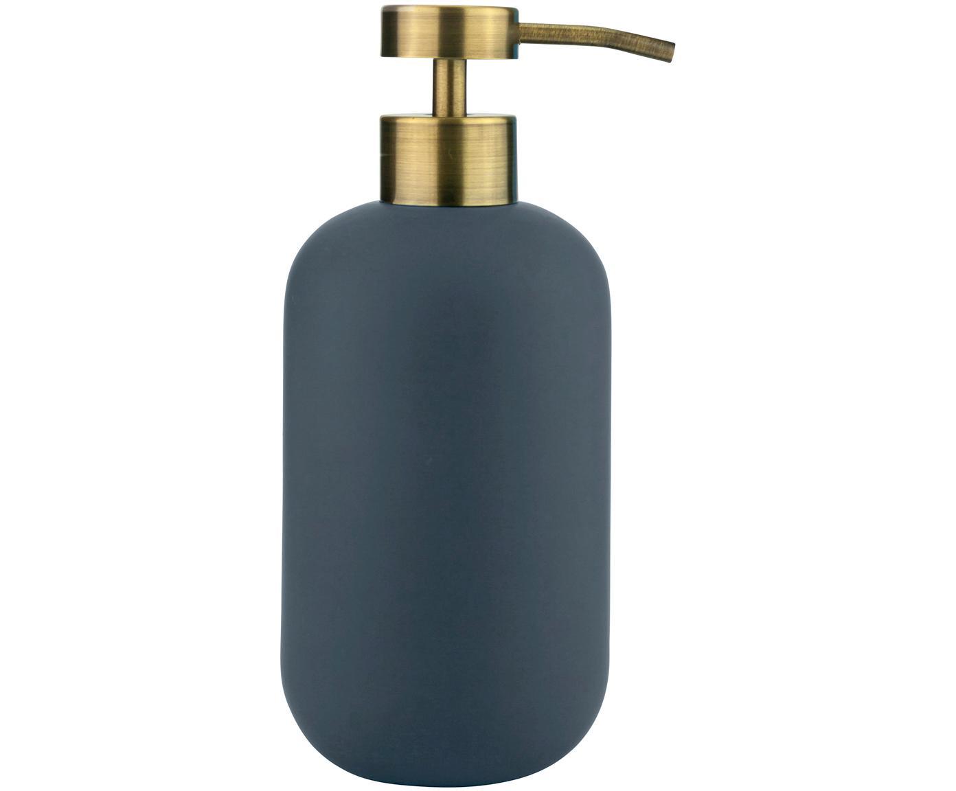 Dosatore di sapone Lotus, Contenitore: ceramica, Testa della pompa: metallo, rivestito, Blu, ottone, Ø 8 x A 18 cm