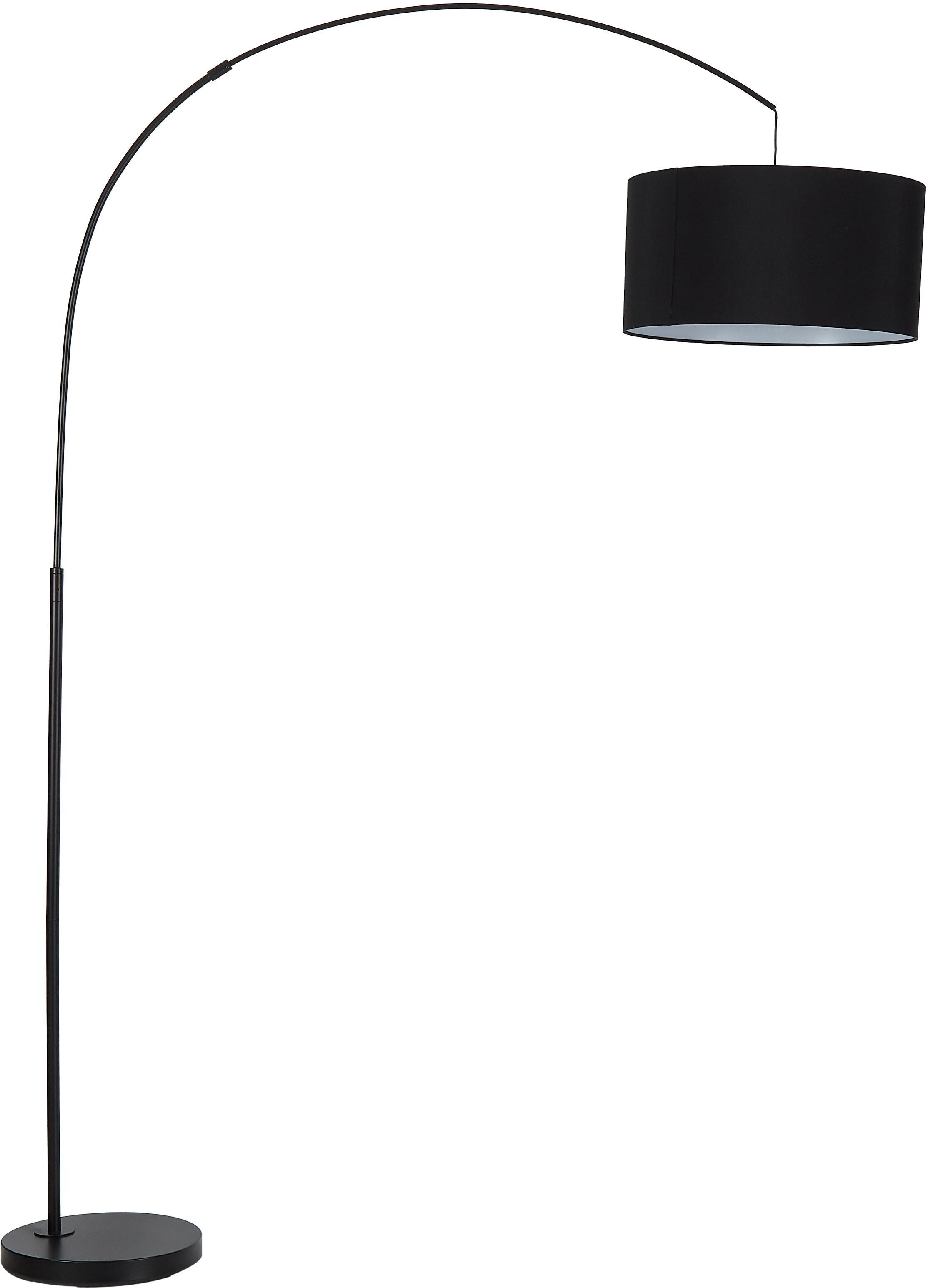 Moderne Bogenlampe Niels, Lampenschirm: Baumwollgemisch, Lampenfuß: Metall, pulverbeschichtet, Lampenschirm: SchwarzLampenfuß: Schwarz, mattKabel: Schwarz, 157 x 218 cm