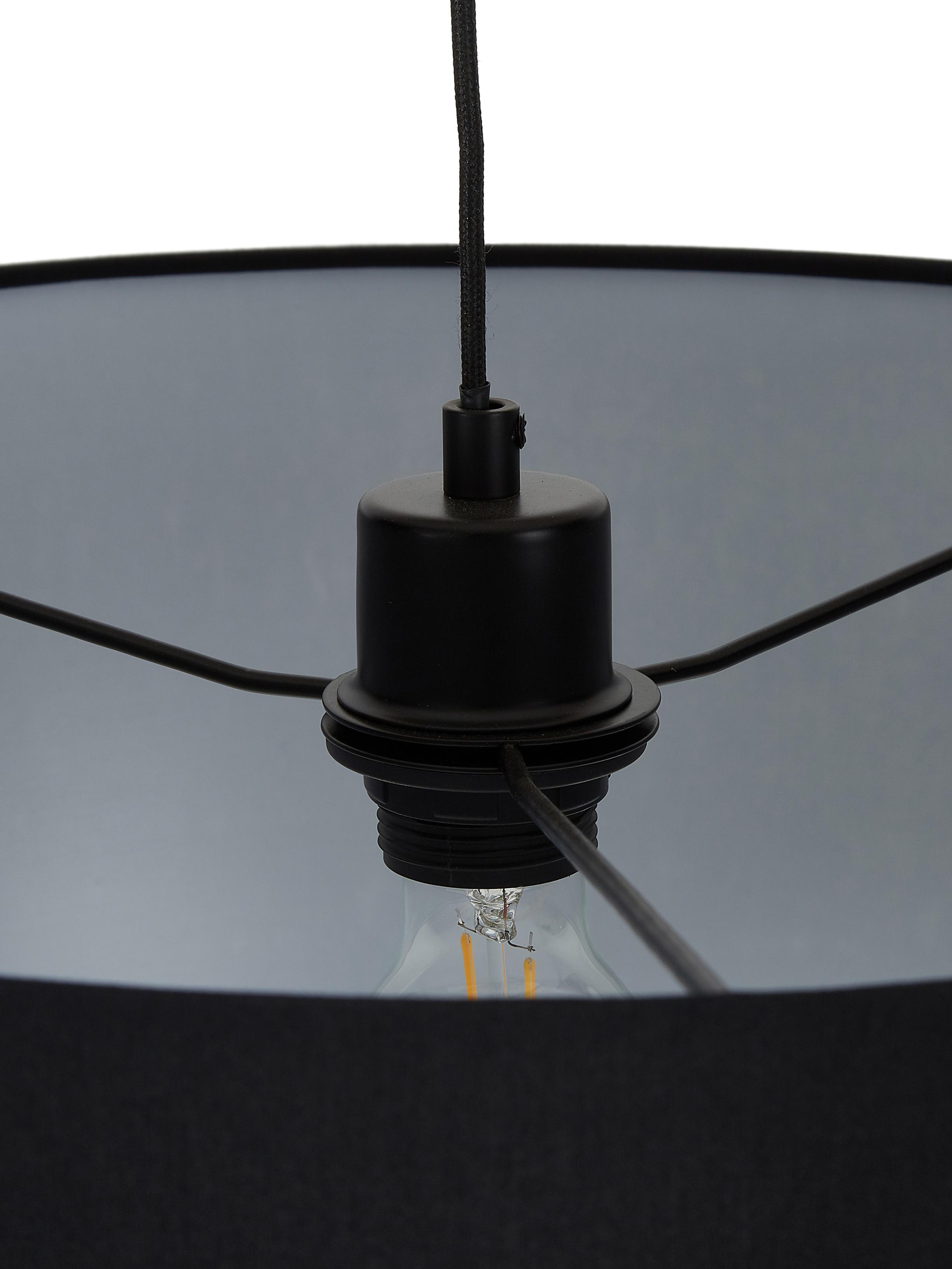 Booglamp Niels, Lampvoet: gepoedercoat metaal, Lampenkap: katoenmix, Lampenkap: zwart. Lampvoet: mat zwart. Snoer: zwart, 157 x 218 cm