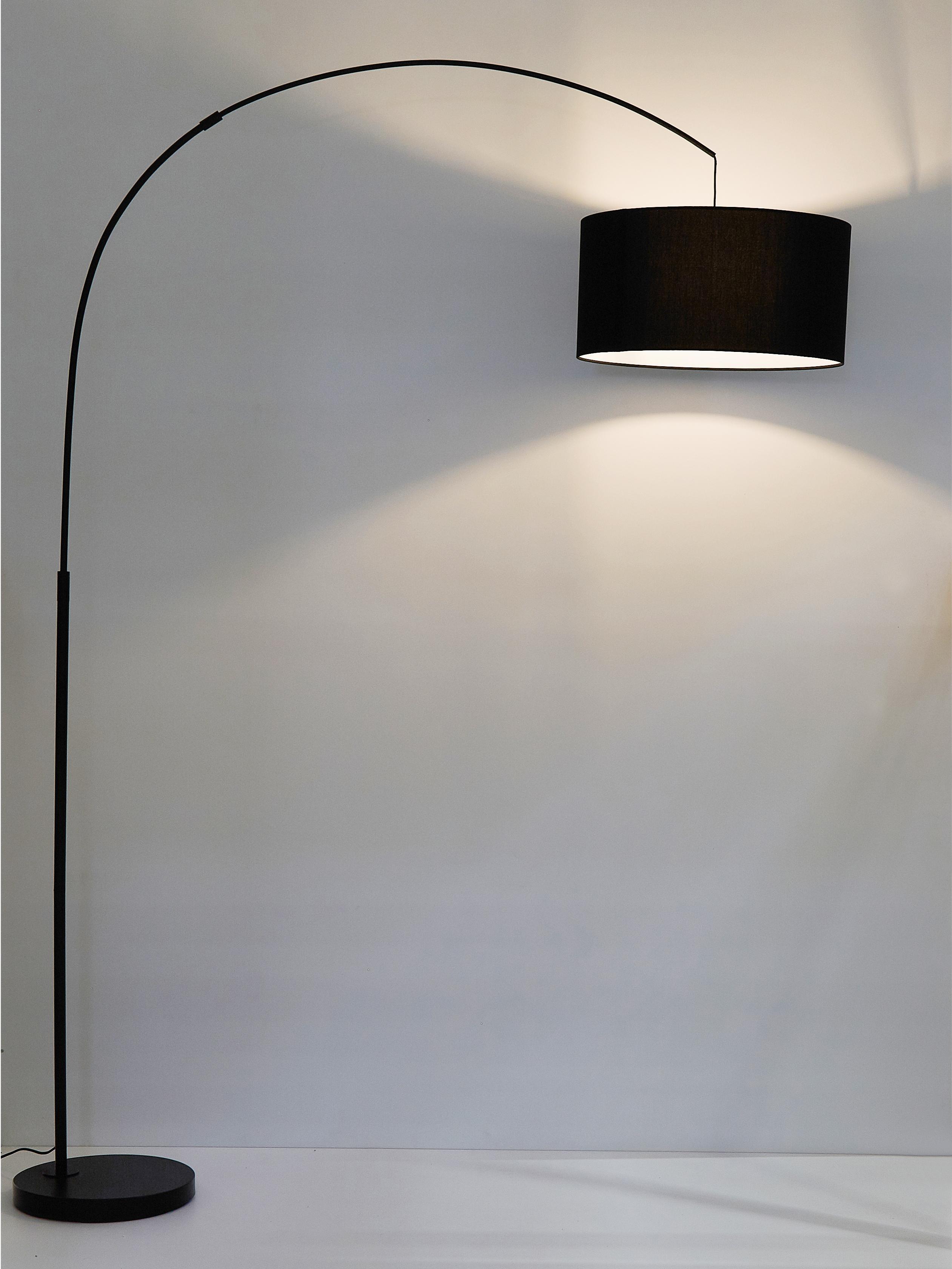 Bogenlampe Niels, Lampenschirm: Baumwollgemisch, Lampenschirm: SchwarzLampenfuss: Schwarz, mattKabel: Schwarz, 157 x 218 cm