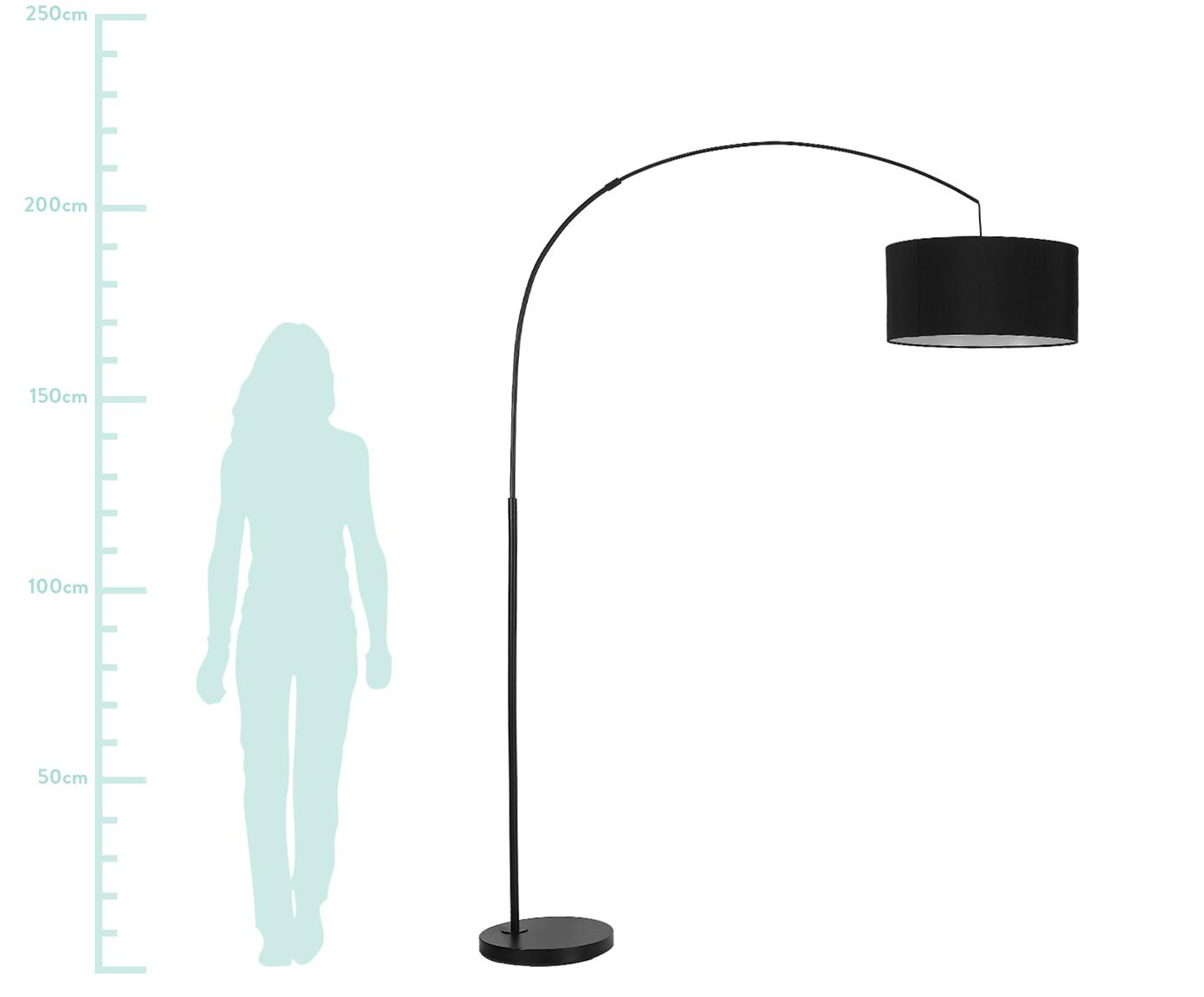 Lampa podłogowa w kształcie łuku Niels, Klosz: czarny Podstawa lampy: czarny, matowy Kabel: czarny, S 157 x W 218 cm
