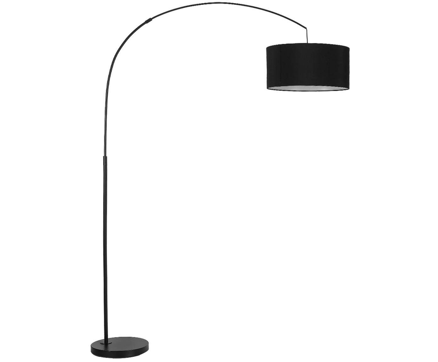 Bogenlampe Niels, Lampenfuß: Metall, pulverbeschichtet, Lampenschirm: Baumwollgemisch, Lampenschirm: SchwarzLampenfuß: Schwarz, mattKabel: Schwarz, 157 x 218 cm