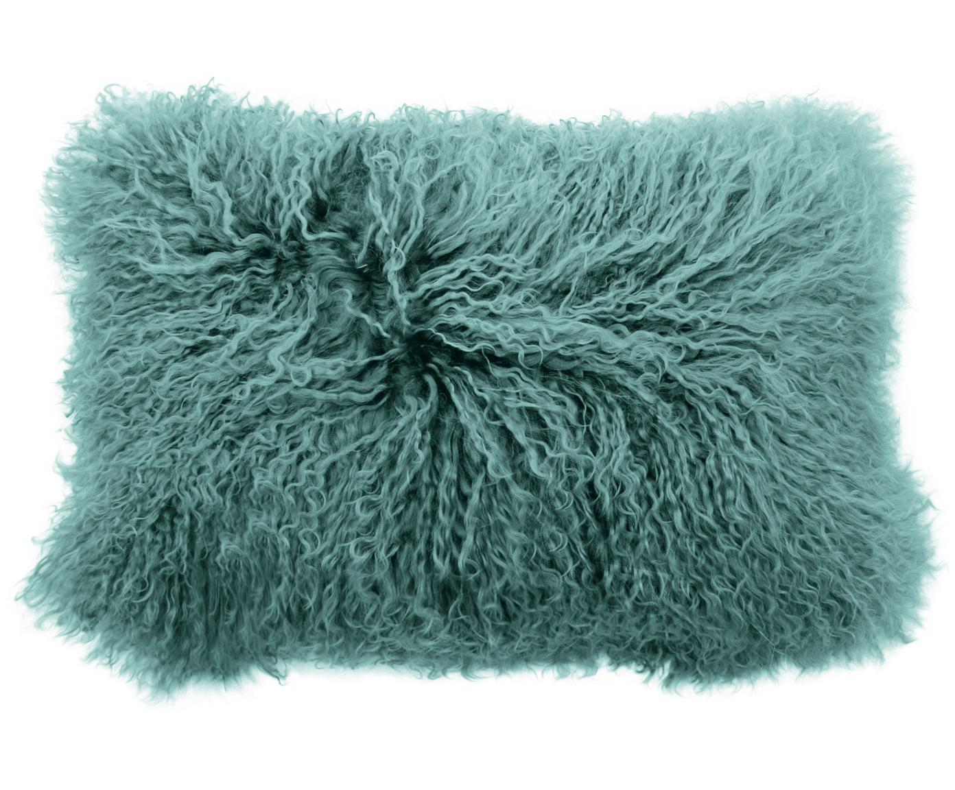 Poszewka na poduszkę ze skóry jagnięcej o długim włosiu Ella,  Ciemnyturkusowy, S 30 x D 50 cm
