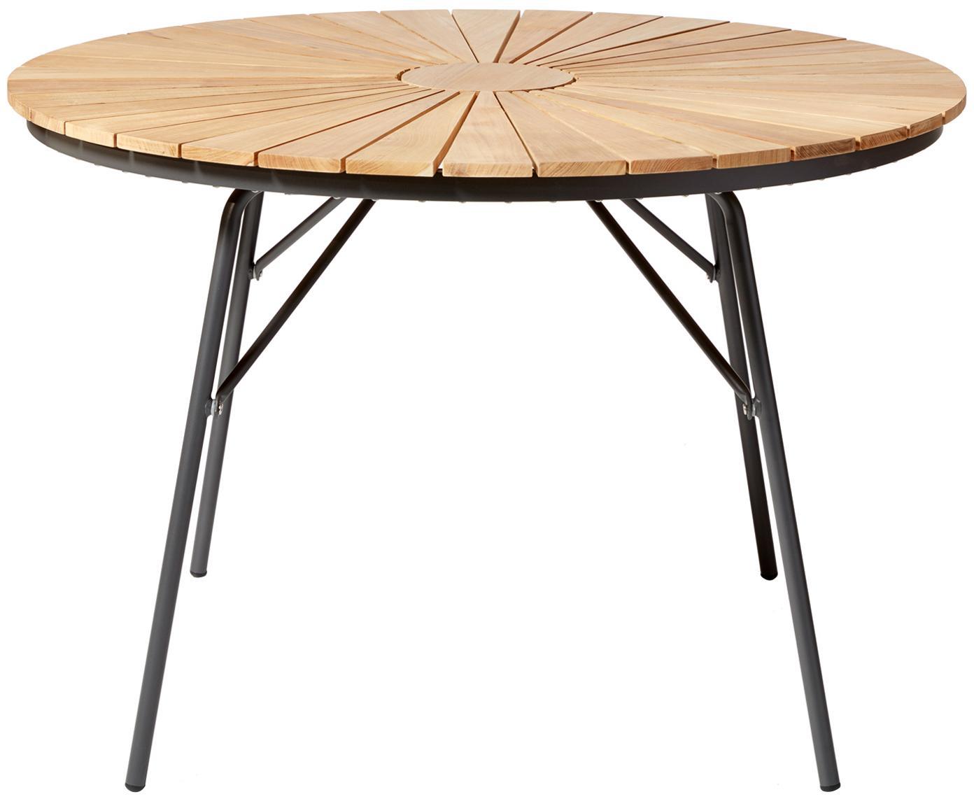 Tavolo da giardino in legno Hard & Ellen, Piano d'appoggio: legno di teak sabbiato Po, Antracite, teak, Ø 110 x Alt. 73 cm