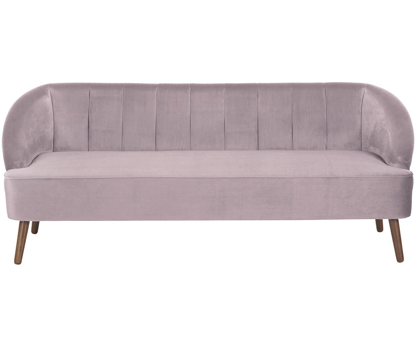 Samt-Sofa Cora (3-Sitzer), Bezug: Samt (Polyester) 28.000 S, Gestell: Kiefernholz, Füße: Kautschukholz, Samt Mauve, 192 x 74 cm