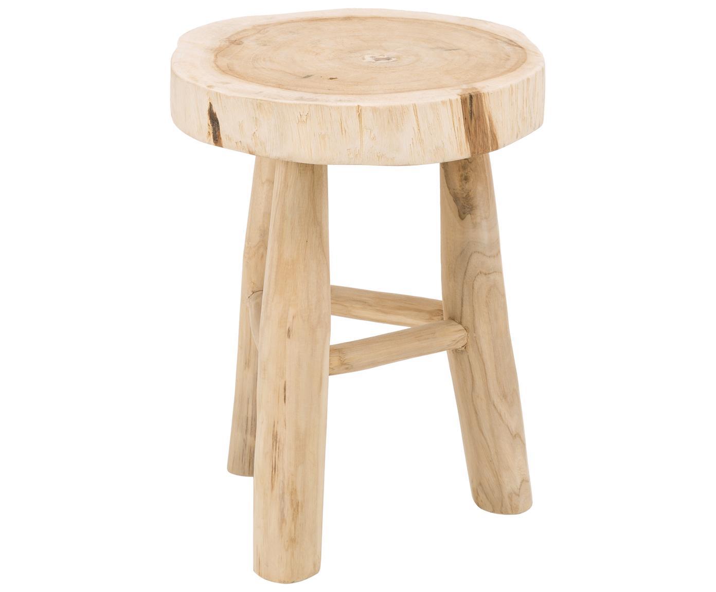 Okrągły stołek z drewna Beachside, Naturalne drewno mungur, Jasny brązowy, Ø 40 x W 50 cm