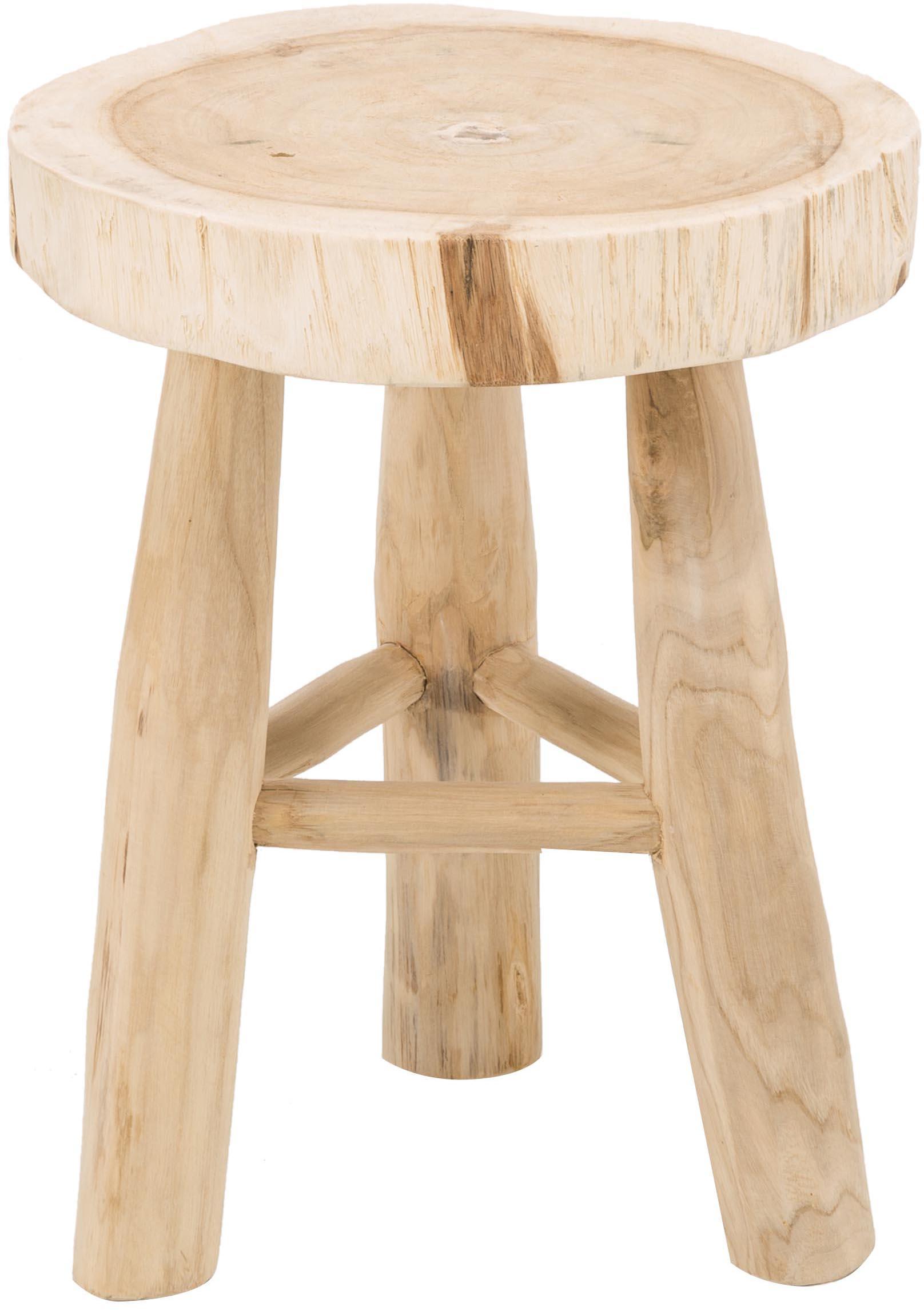 Sgabello rotondo in legno Beachside, Legno di mungur, finitura naturale, Marrone chiaro, Ø 40 x Alt. 50 cm