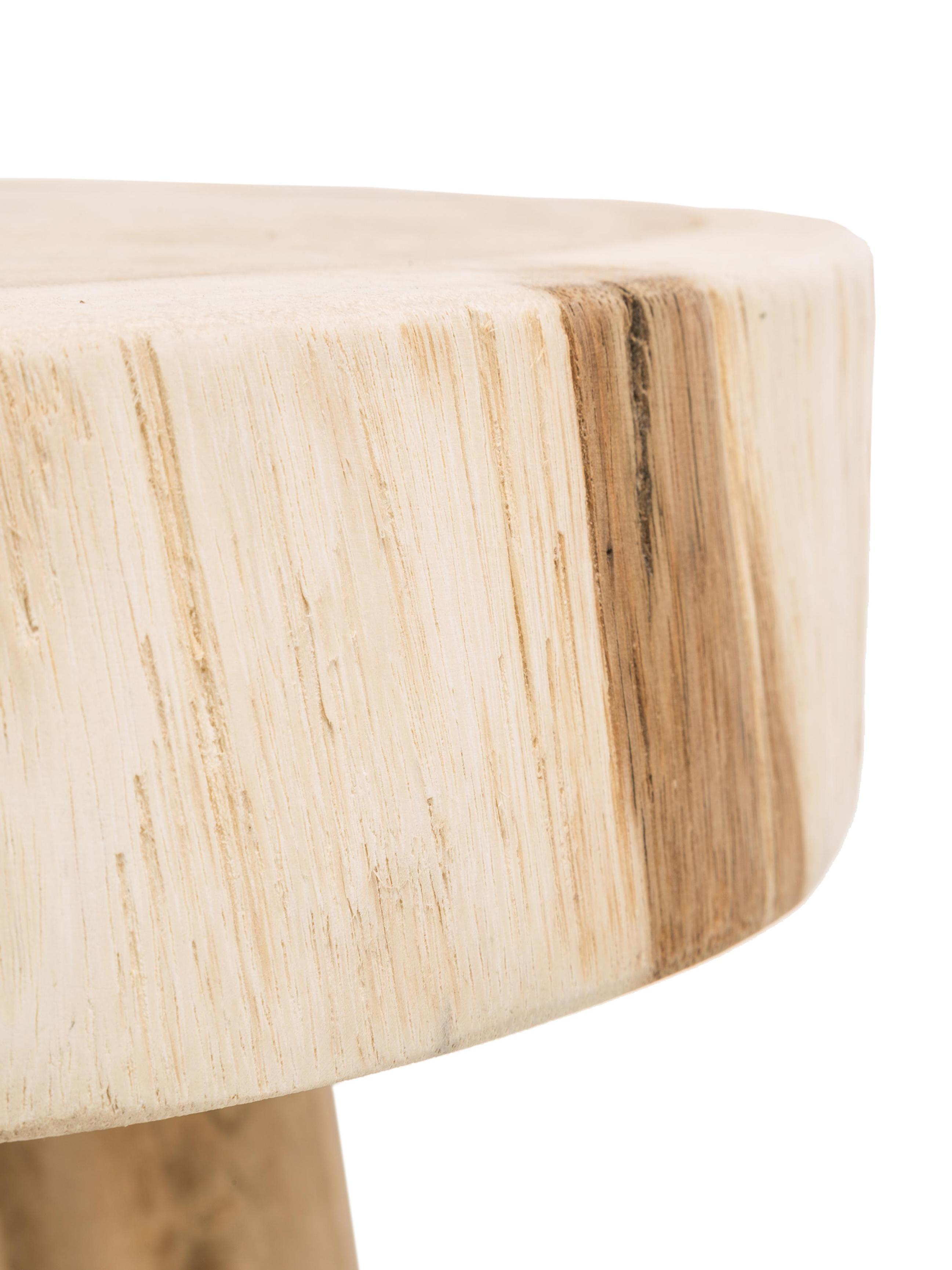 Taburete redondo de madera Beachside, Madera de mungur natural, Bayo, Ø 40 x Al 50 cm