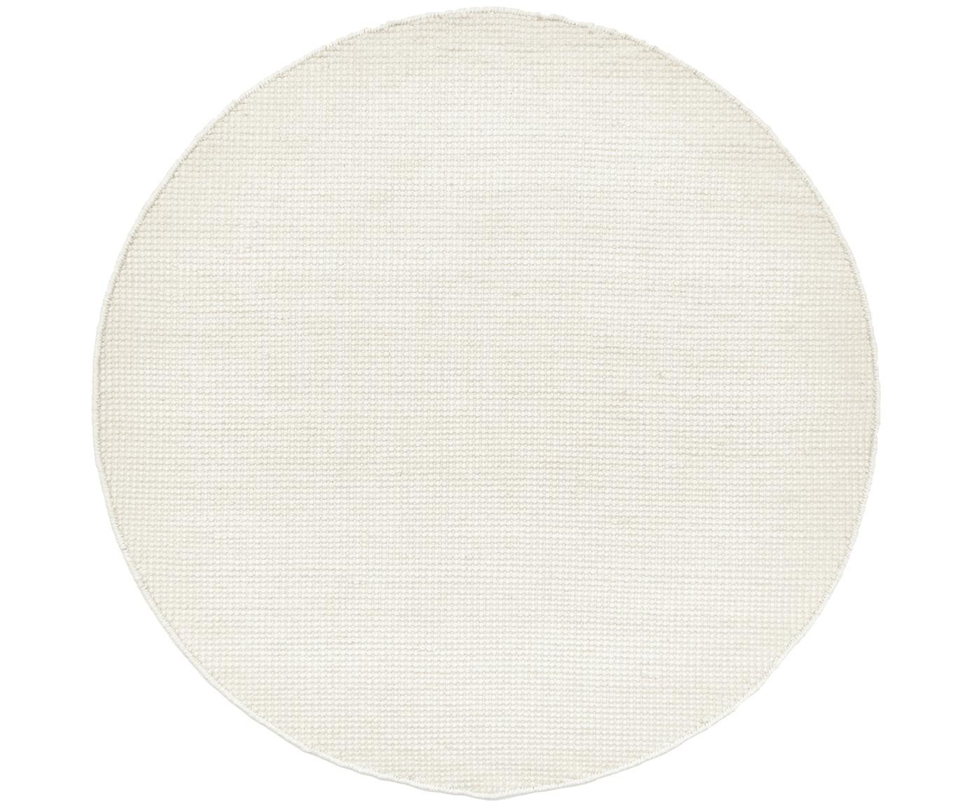 Alfombra de lana tejida a mano Amaro, 38%lana, 22%poliéster, 20%algodón, 20%poliamida, Blanco crema, Ø 140 cm (Tamaño M)