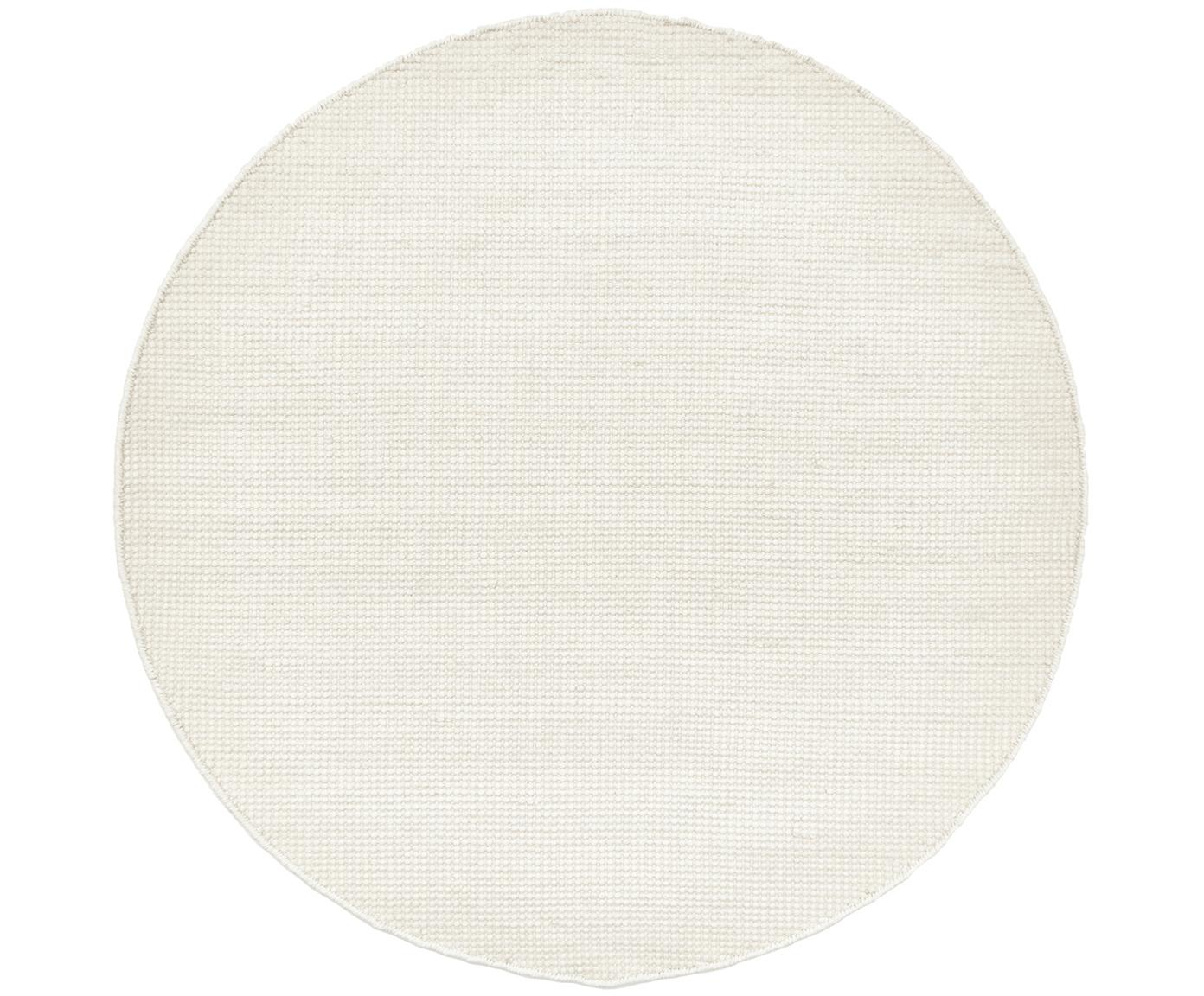 Runder Wollteppich Amaro in Creme, handgewebt, 38% Wolle, 22% Polyester, 20% Baumwolle, 20% Polyamid, Cremeweiss, Ø 140 cm (Grösse M)