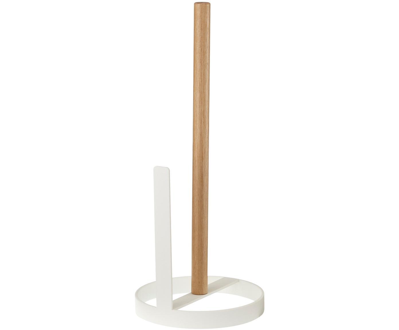 Kleiner Küchenrollenhalter Tosca, Stange: Holz, Weiss, Holz, Ø 11 x H 27 cm