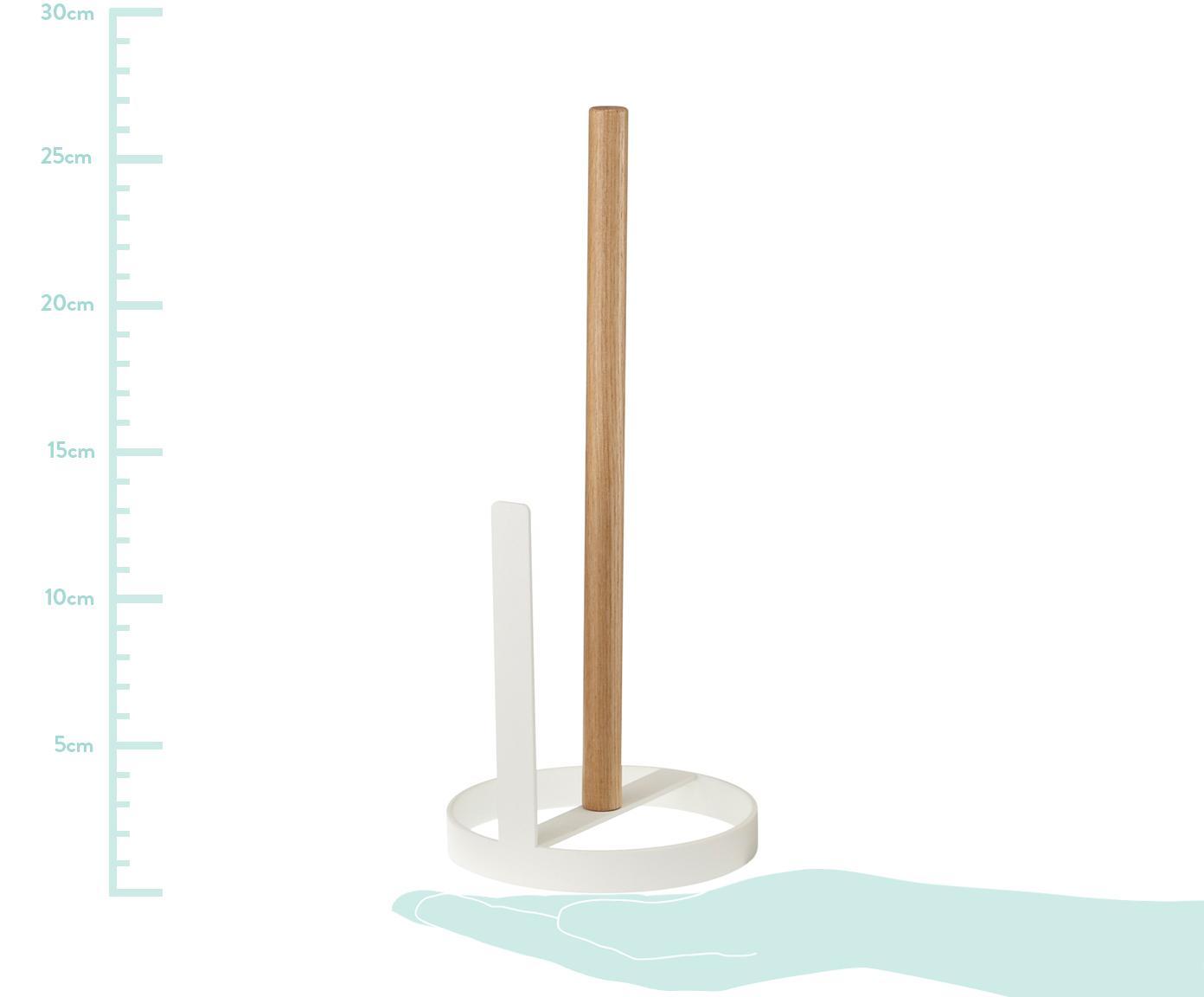 Stojak na ręczniki papierowe  Tosca, Noga: stal, powlekany, Biały, drewno naturalne, Ø 11 x W 31 cm